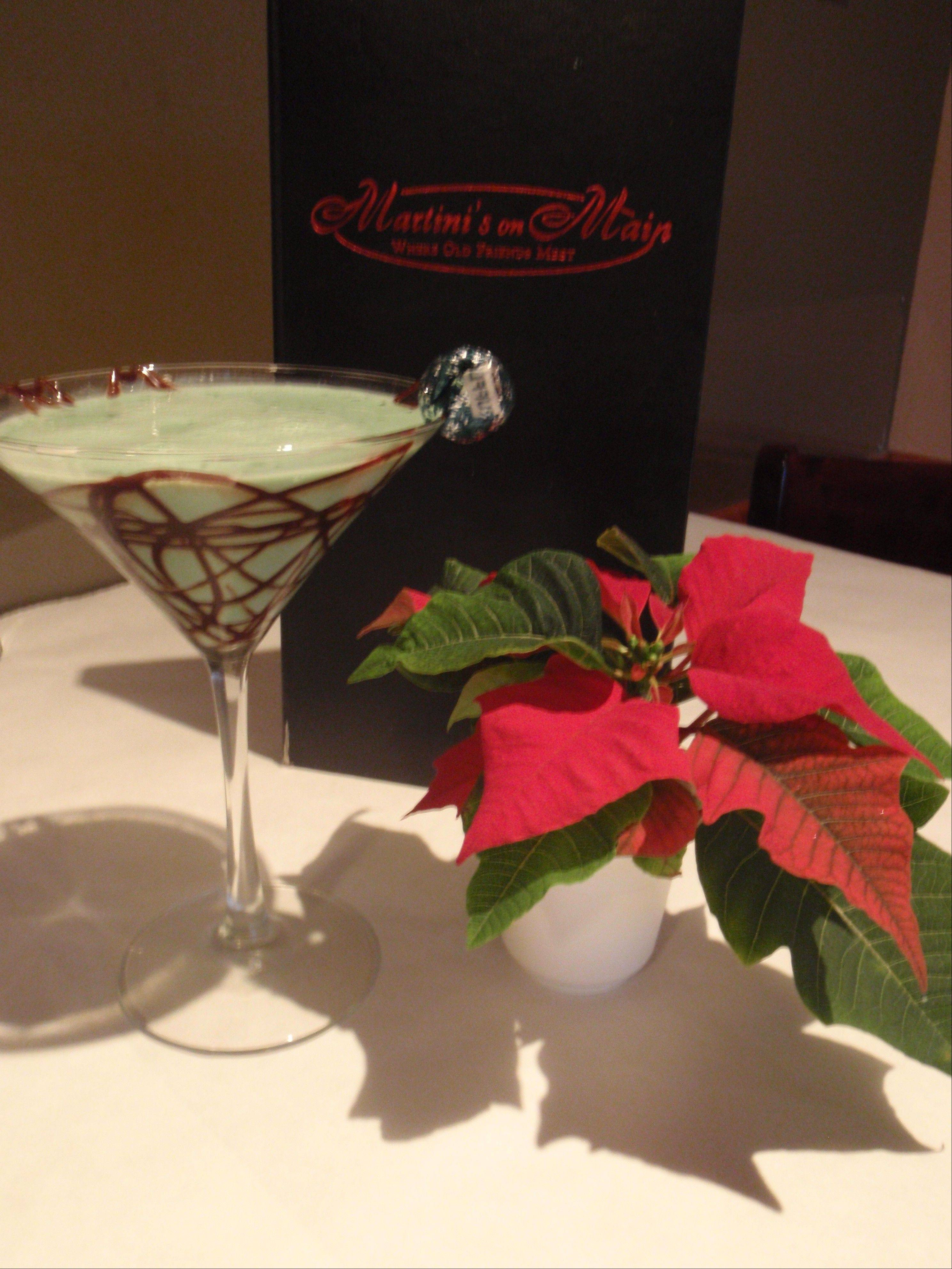 The Candy Cane martini at Martinis on Main gets its color from the crème de mint.