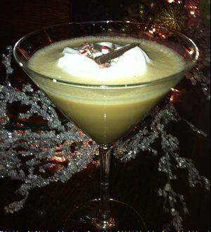 Peppermint schnapps, vodka and liqueurs are blended for the Peppermint Mocha Martini.