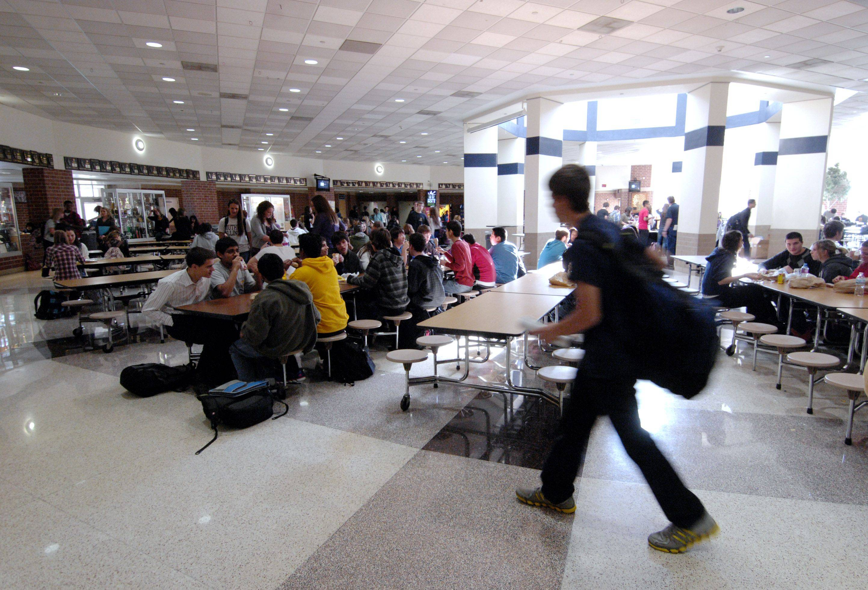 Eating lunch is one of several choices Neuqua Valley High School students have when deciding what to do during their option period.