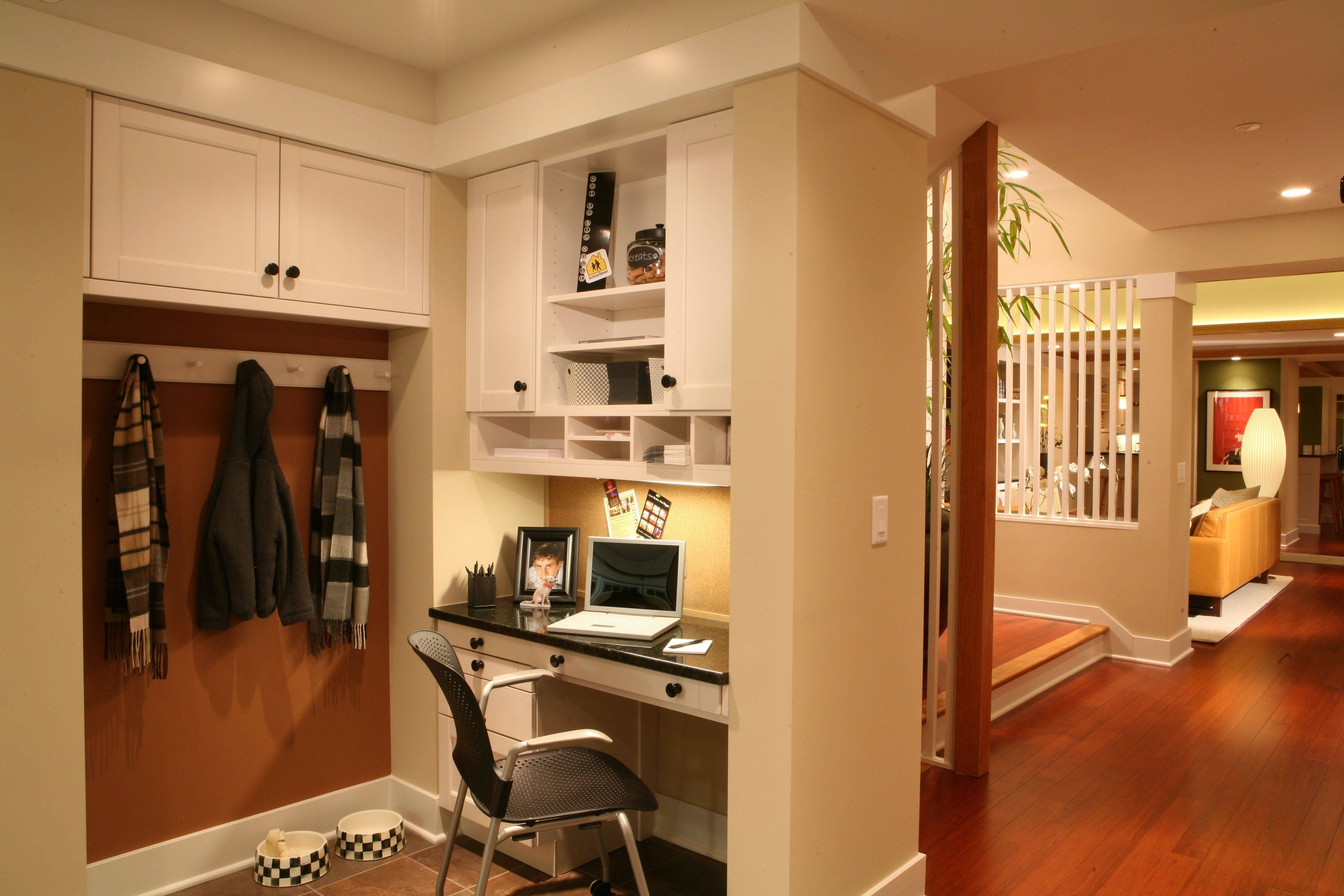 The mud room helps with home organization.