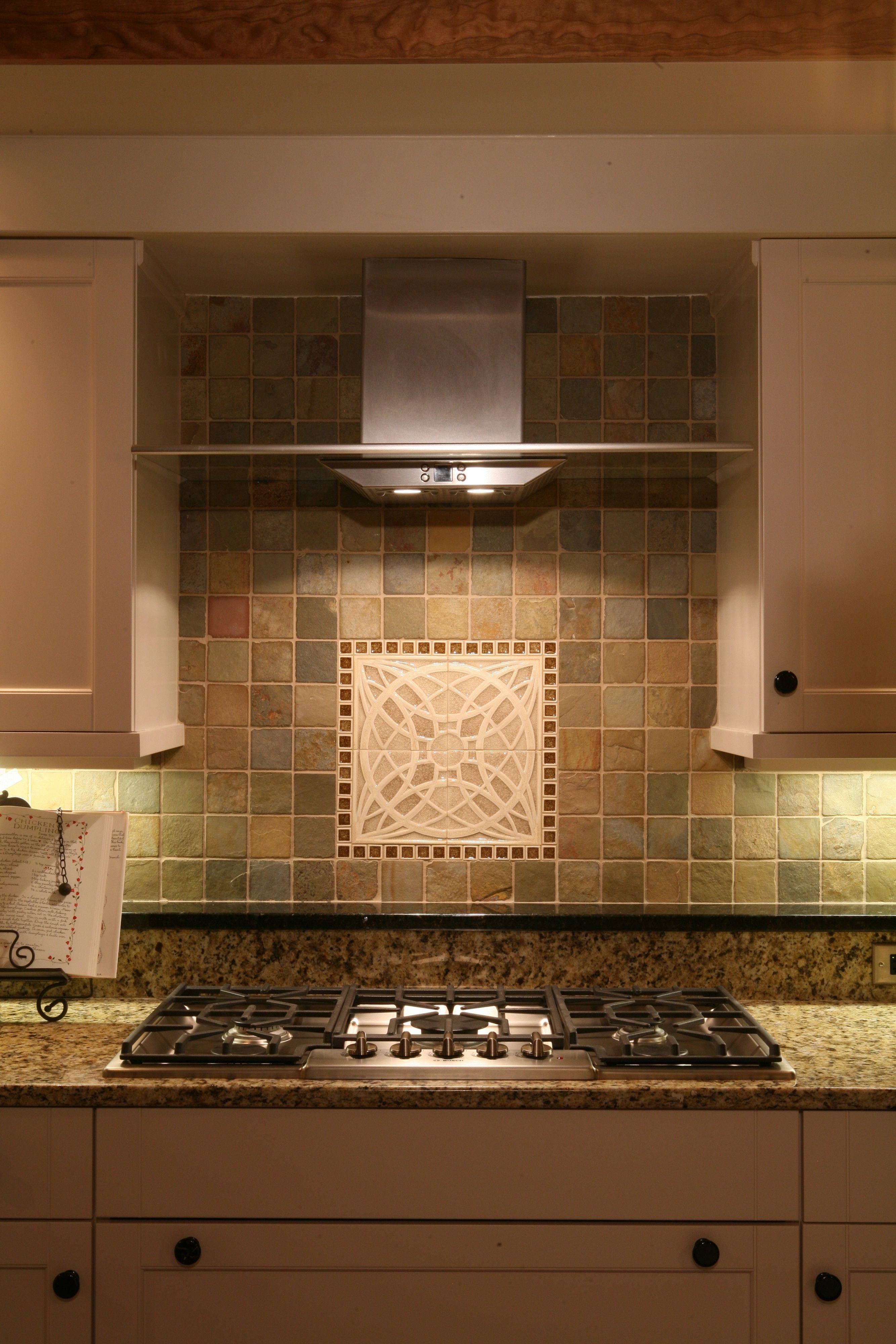 The tile detail is a focal point in the kitchen.