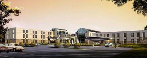 A rendering of a 70-bed hospital Mercy Health System hoped to build in Crystal Lake. A state panel rejected the plan Wednesday.