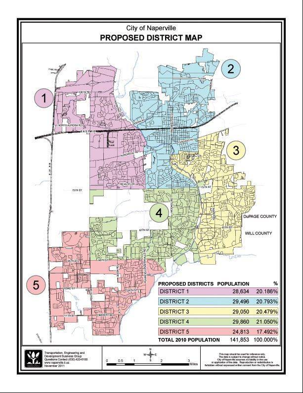 Map of Naperville's proposed new voting districts. Residents last year voted to elect city council members by district.