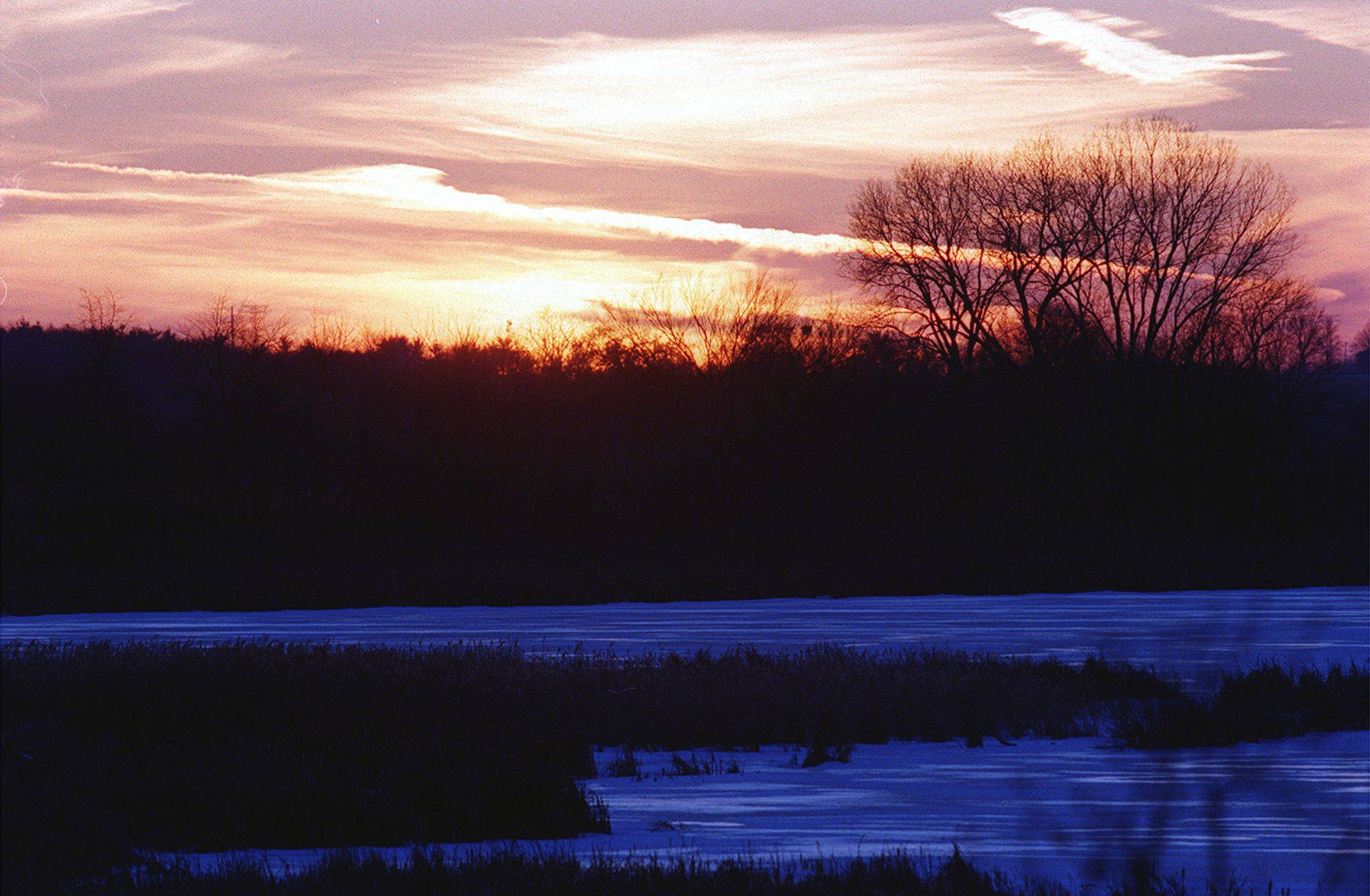 The sun slips beyond the horizon at Nelson Lake Marsh in Batavia, turning the sky from golden to pink and making the snowcovered marsh take on a purplish glow. Soon it will be the longest night of the year, the winter solstice.