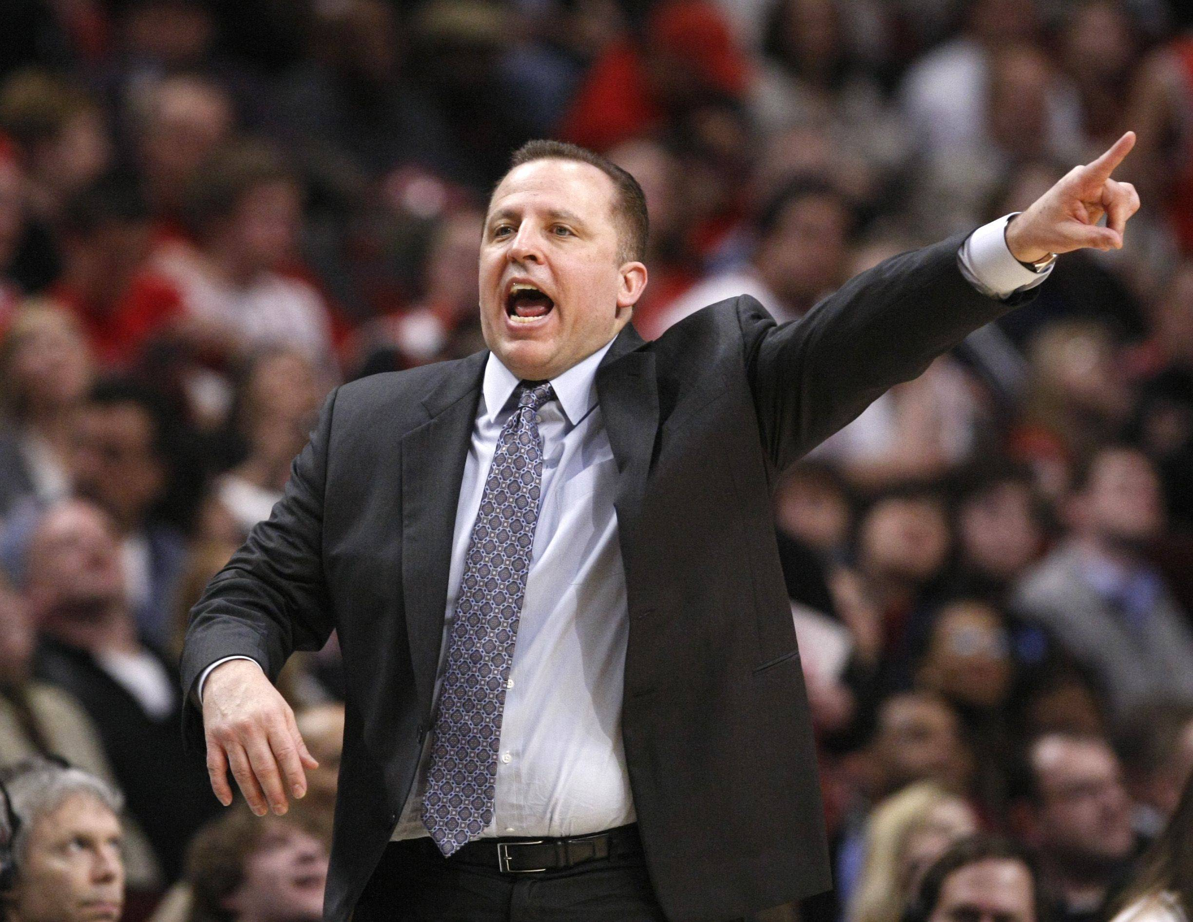 Chicago Bulls coach Tom Thibodeau directs his team during the second half of an NBA basketball game against the Sacramento Kings, Monday, March 21, 2011, in Chicago. The Bulls won 132-92.