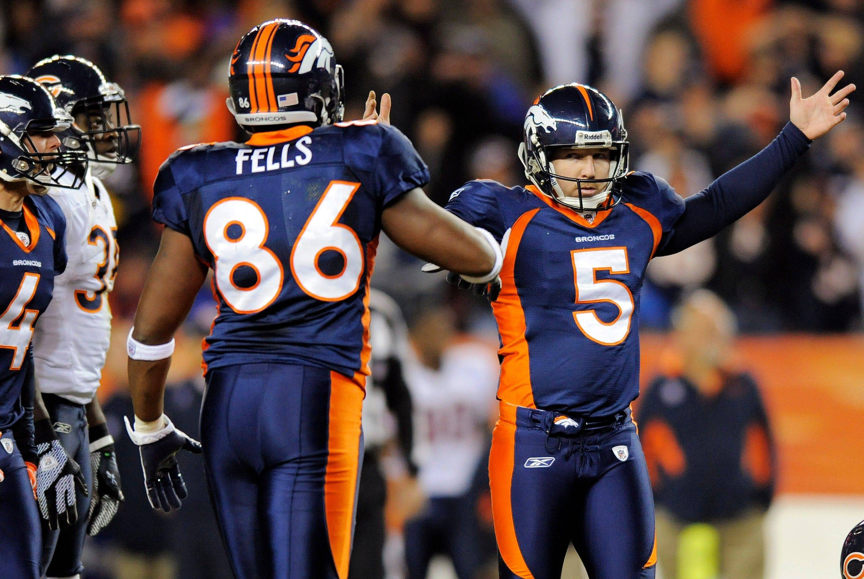 Denver Broncos kicker Matt Prater (5) reacts as his 59-yard field goal attempt with 8 seconds remaining in the fourth quarter goes through the uprights.