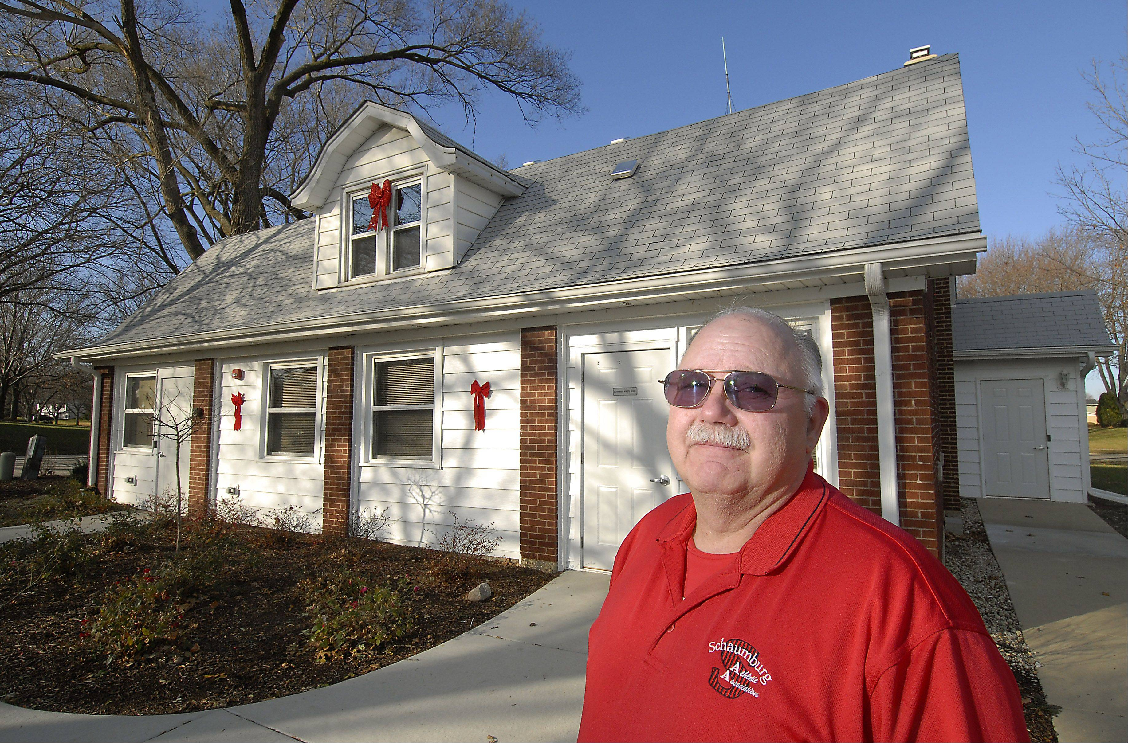 The Schaumburg Athletic Association has renovated the village of Schaumburg's old carriage house that had been slated for demolition, using only volunteers. Mike Tracy, who does public relations for the group, was amazed at all the hard work that was done by volunteers on the project.