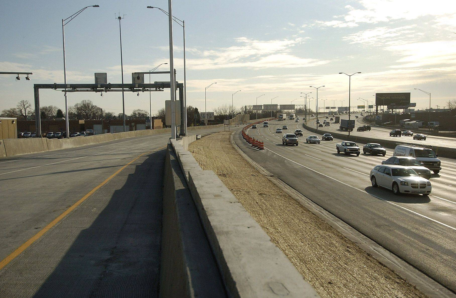 Construction is finished on the Balmoral off-ramp for the northbound Tri-State Tollway and the barricades were removed after a ribbon-cutting ceremony at 11 a.m. today.