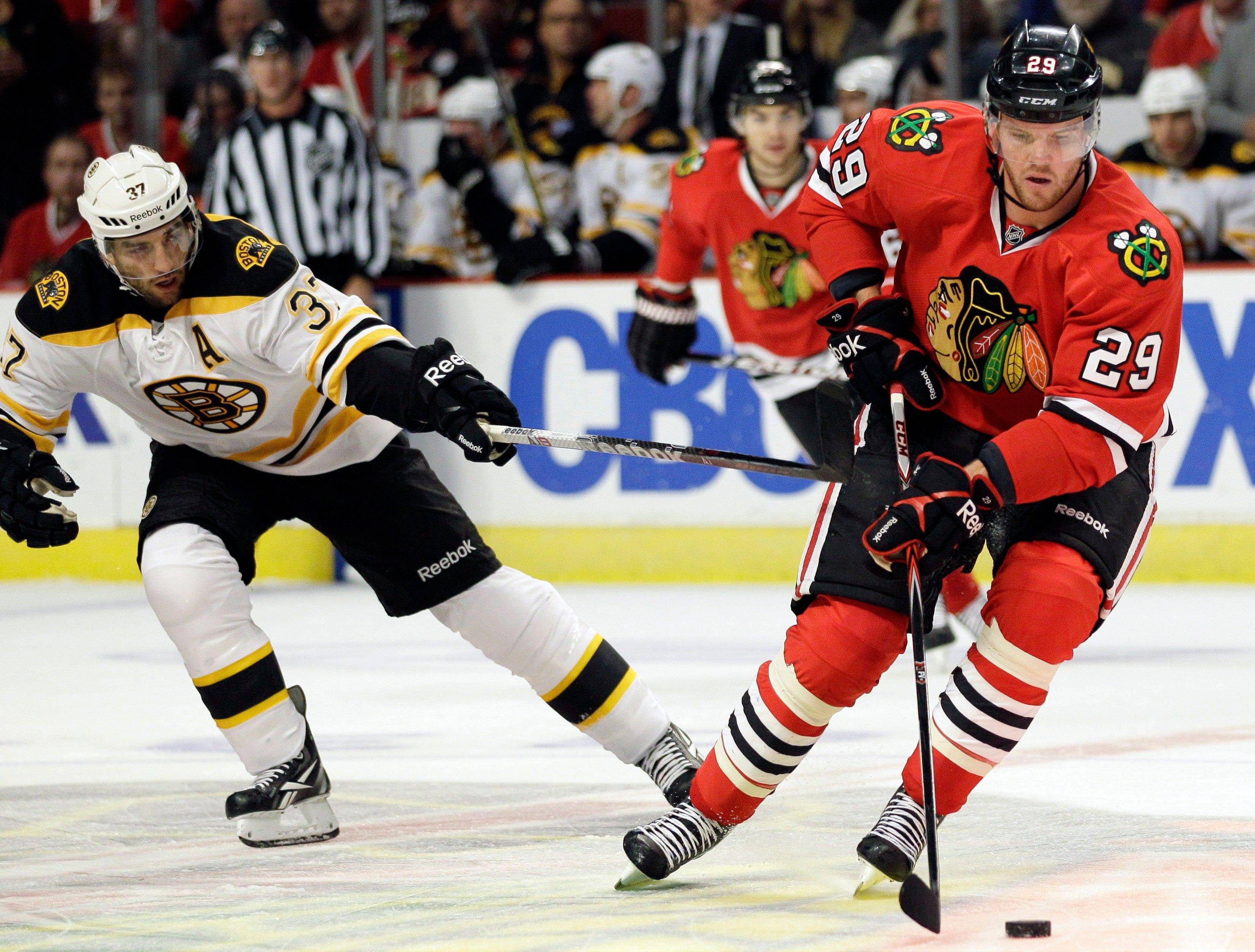 The Blackhawks sat Bryan Bickell (29) for five games, but he'll be back in the lineup Wednesday against Minnesota. Head coach Joel Quenneville wants Bickell to use his size and speed to be a factor in games.