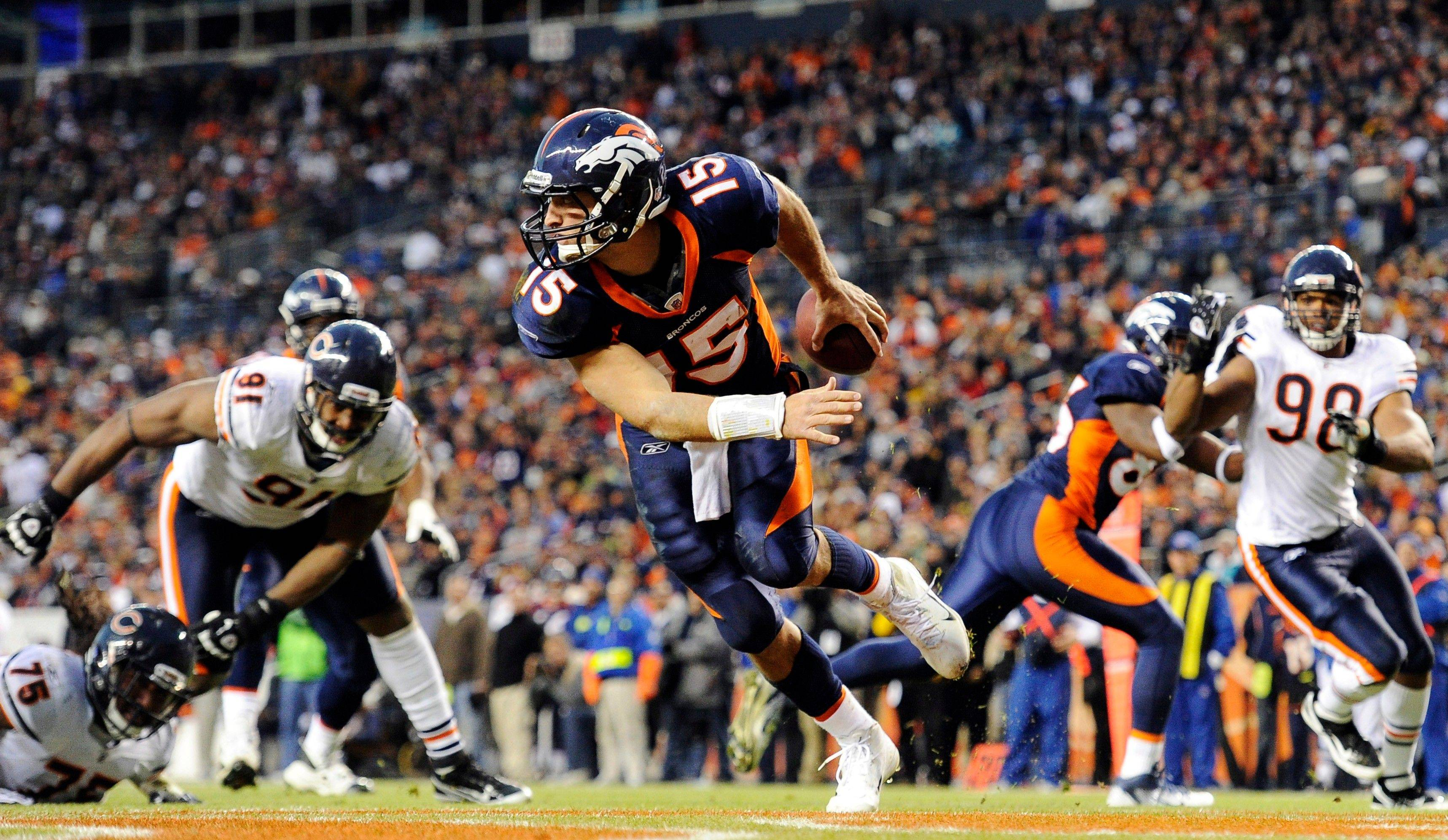 After struggling for three quarters, Denver Broncos quarterback Tim Tebow completed 18 of 24 passes for 191 yards and a touchdown in the fourth quarter and overtime.