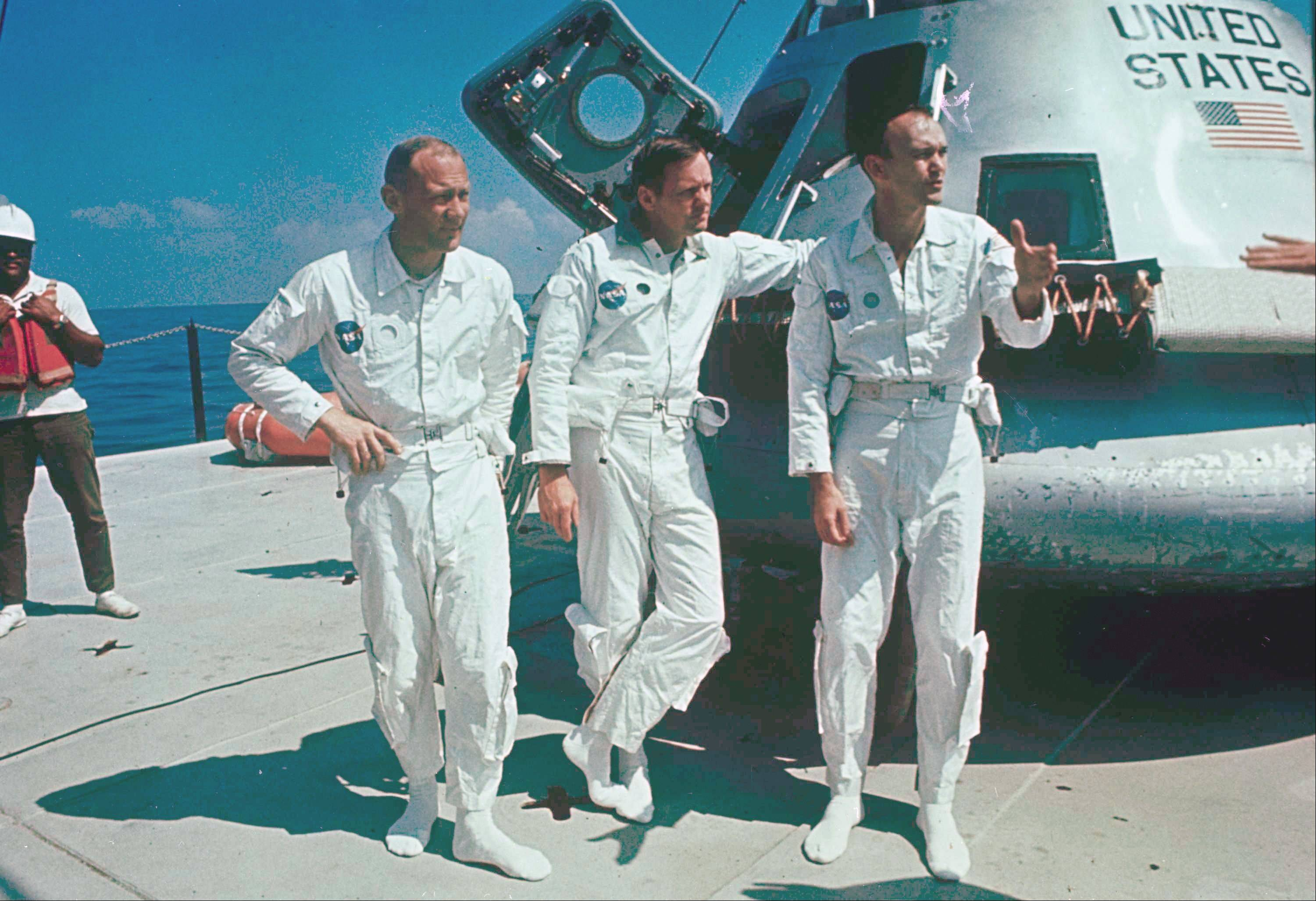 After the Apollo 11 crew made their mission to the moon in 1969, park officials in Carol Stream decided to recognize them by naming a park, community center and swimming pool in their honor. The crew, from left, was made up of Buzz Aldrin, Neil Armstrong and Michael Collins.