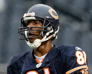 Chicago Bears wide receiver Sam Hurd (81) was arrested Wednesday night on drug charges.