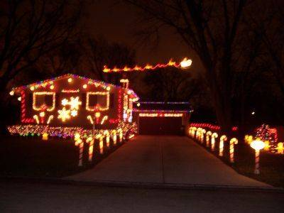 The Thomsens decorated their house at 1103 E. Dogwood Lane in Mount Prospect this year to make it look like a gingerbread house with a mix of candy cane lane.