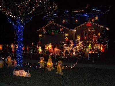 Kyprianidis Family spends more than 40 hours putting up lights and their display of the nativity scene, Santa, elves, a Gingerbread house, snowman and Disney characters at 1495 Morgan Drive in Elk Grove Village.
