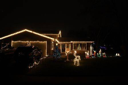 Mostly all white lights with some blue to add some color at the Fiorito home at 33 Grange Road in Elk Grove Village.
