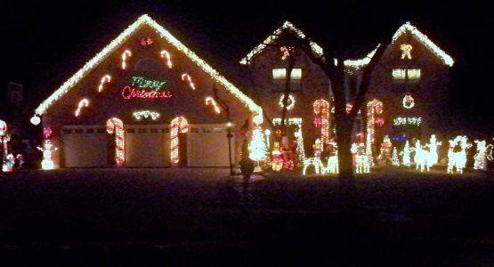 The Lococo Winter Wonderland is filled with candy canes at 1320 Prairie Drive in Algonquin.