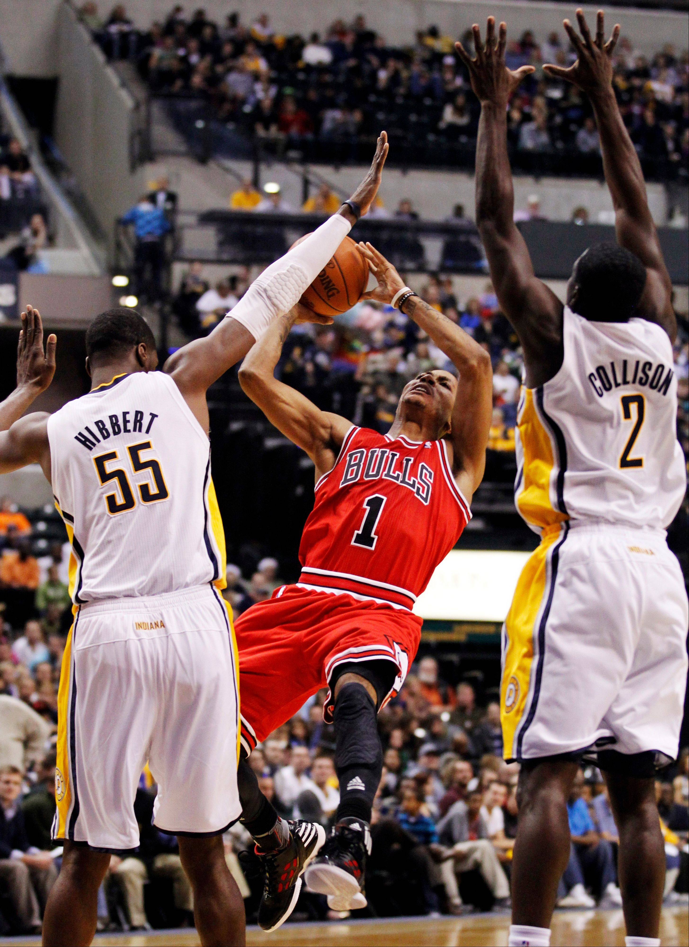 Derrick Rose scored 16 to help the Bulls beat the Indiana Pacers Friday night in Indianapolis in both teams preseason opener.