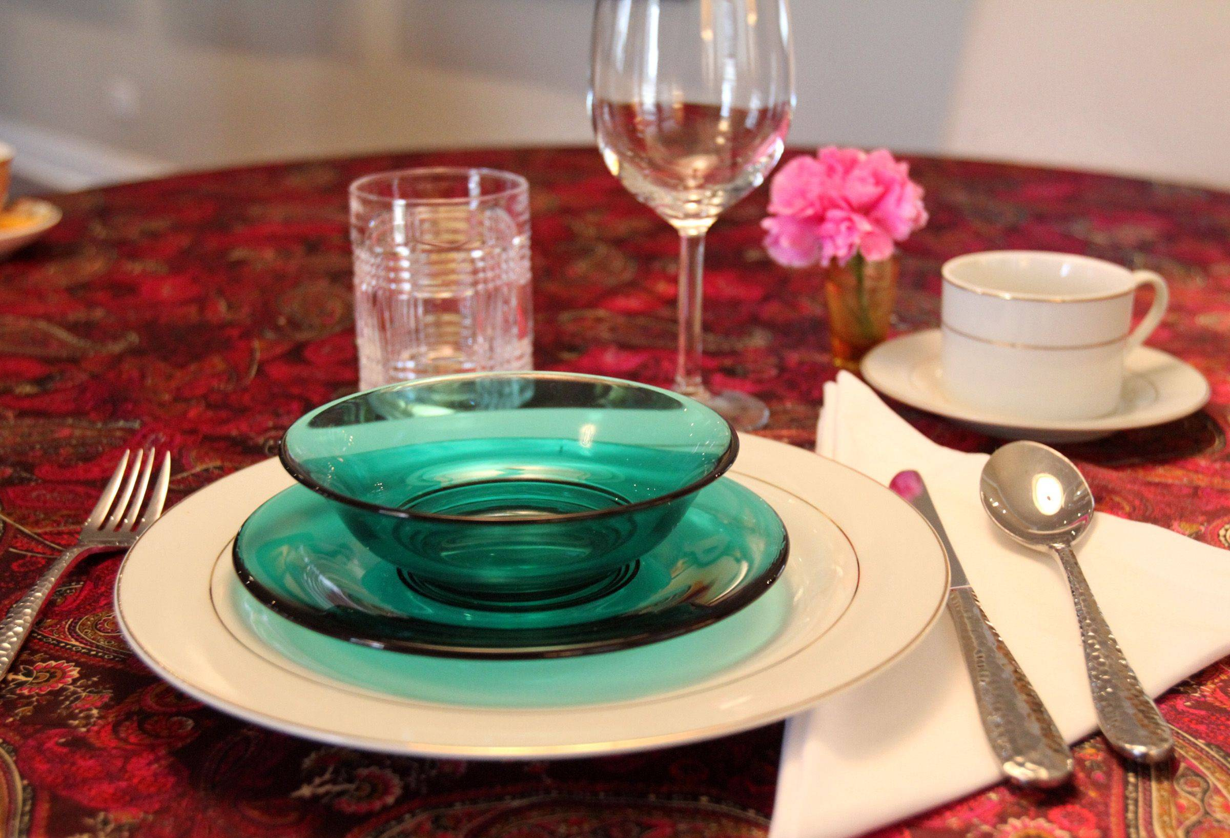 The glass bowl and plate and classic china set are resale finds.