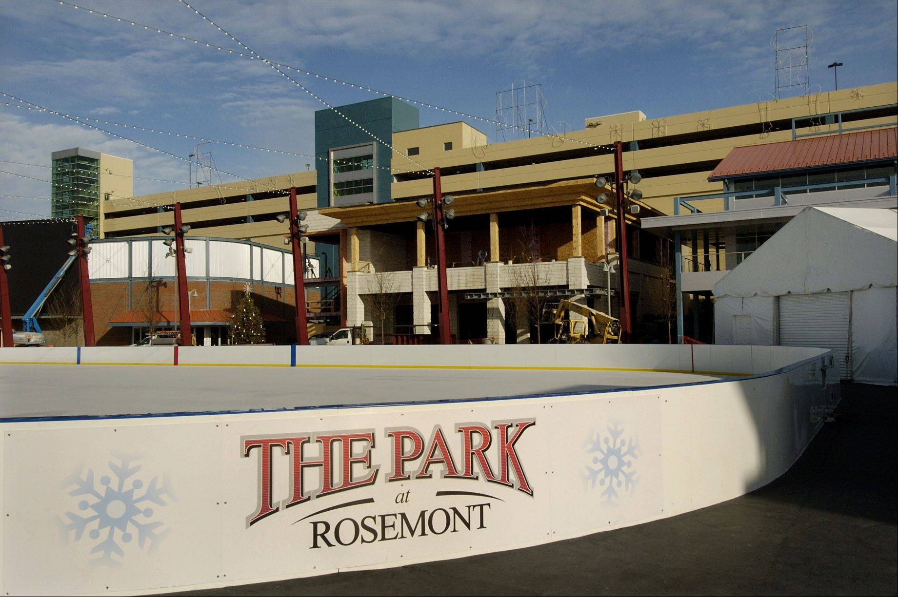 Rosemont's new restaurant and entertainment district is under construction off the Tri-State Tollway. Officials expect eight new dining and entertainment venues to open in the district next year.