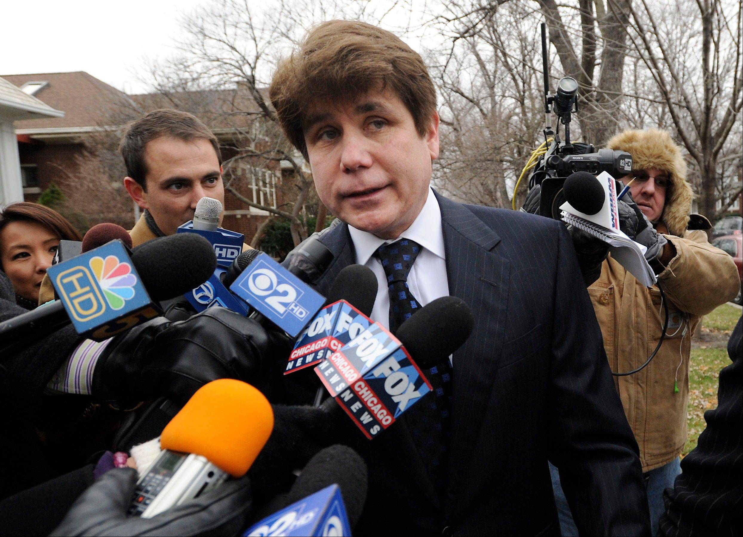 Former Illinois Gov. Rod Blagojevich heads to federal court for his sentencing hearing earlier this month.