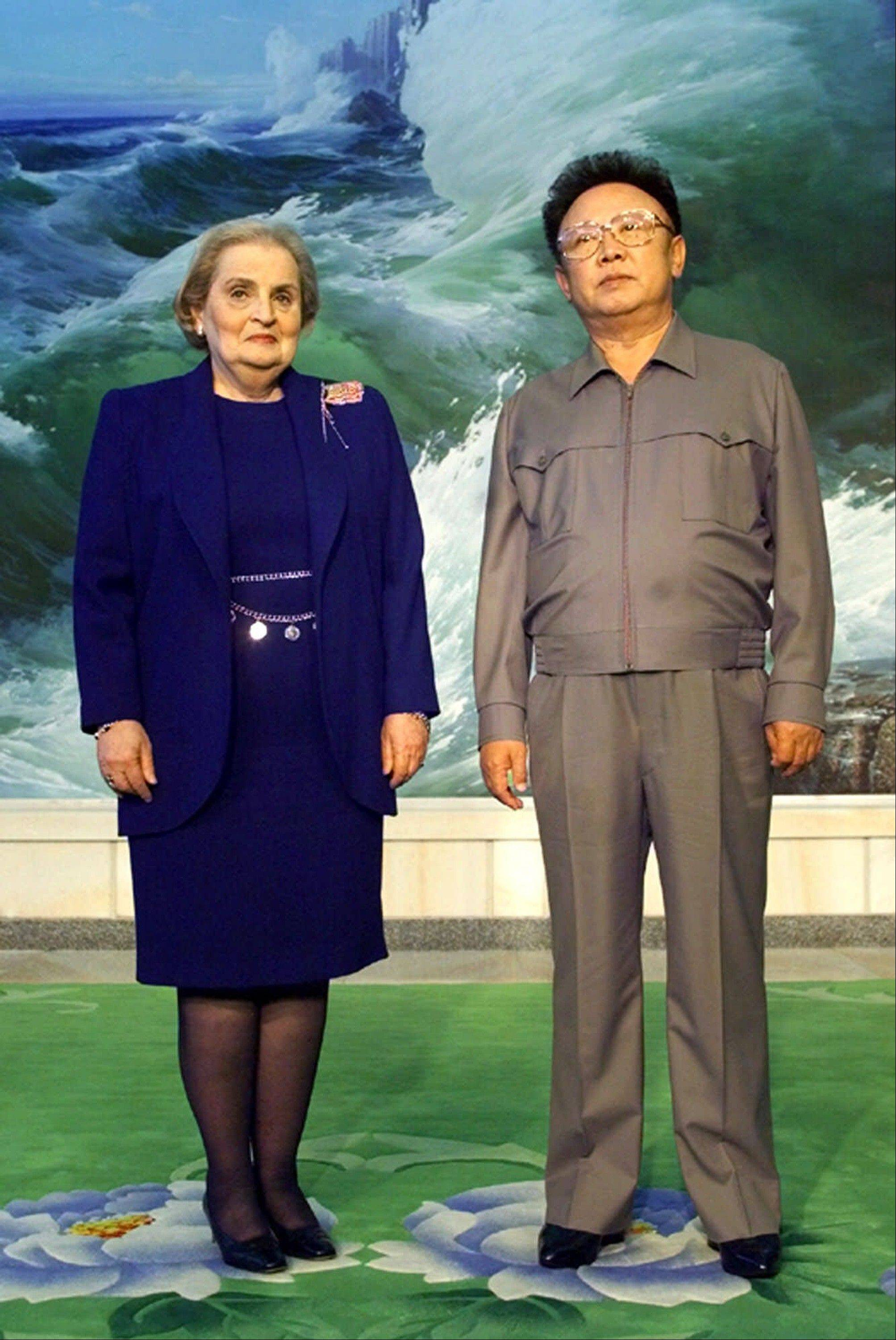 "In this Oct. 23, 2000, file photo, North Korean leader Kim Jong Il, right, and U.S. Secretary of State Madeleine Albright stand together at the Pae Kha Hawon Guest House in Pyongyang, North Korea. North Korean television announced in a ""special broadcast"" that its leader Kim Jong Il died in Pyongyang."