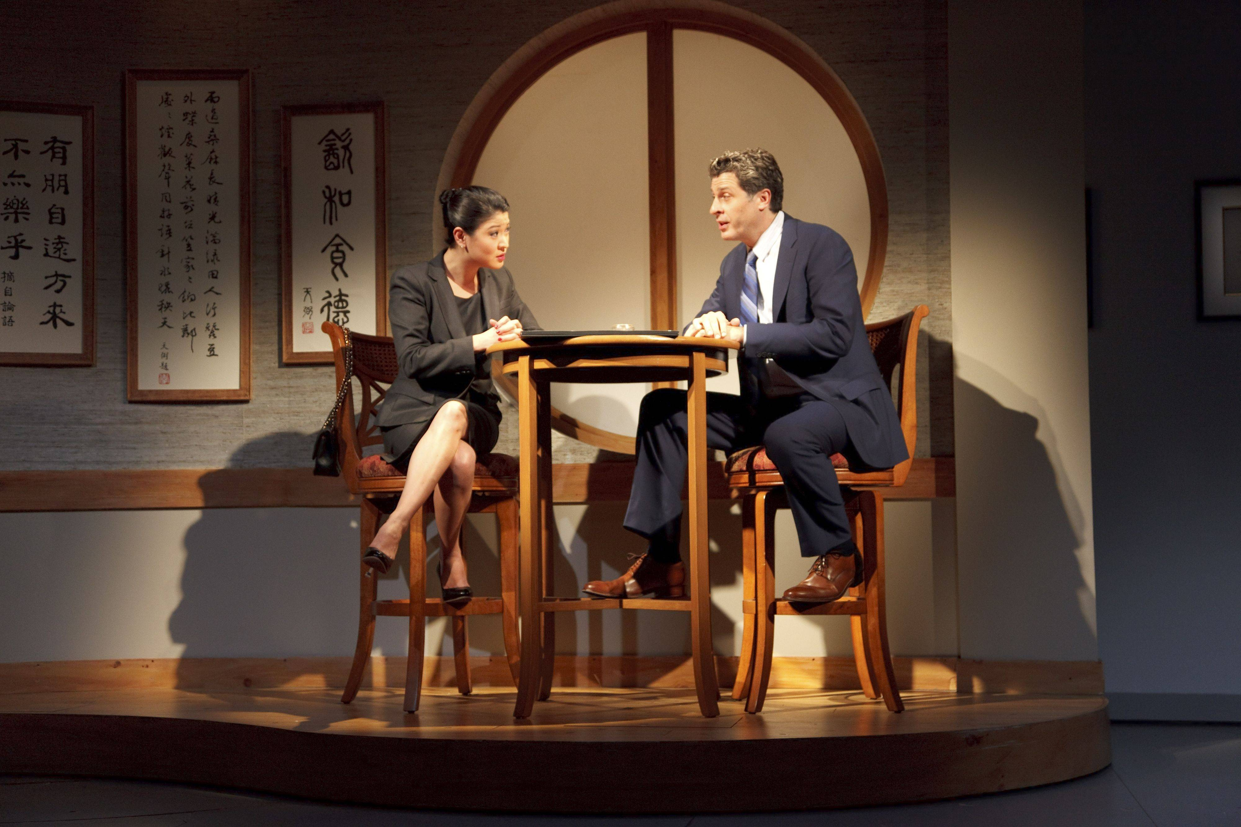 "Gary Wilmes, right, a Maine East High School alumnus, plays the lead role of American businessman Daniel Cavanaugh in the Broadway show ""Chinglish."""