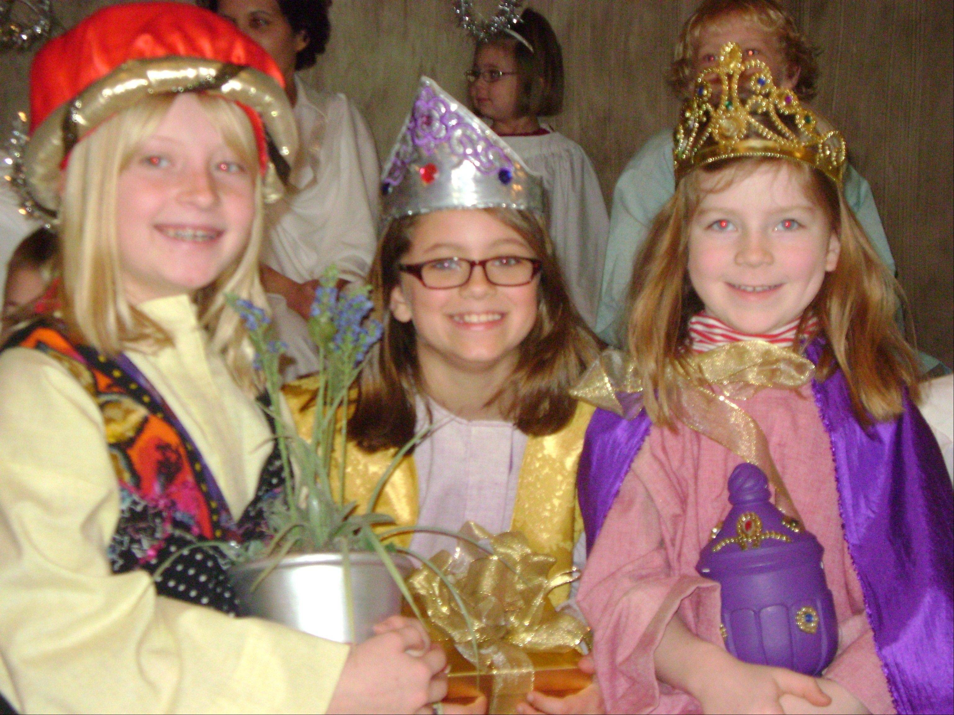 The three wise women at Bethany Lutheran Church's Christmas pageant, from left, are Sarah Gillerlain, Joslyn Klitzke and Kersten McQuillan.