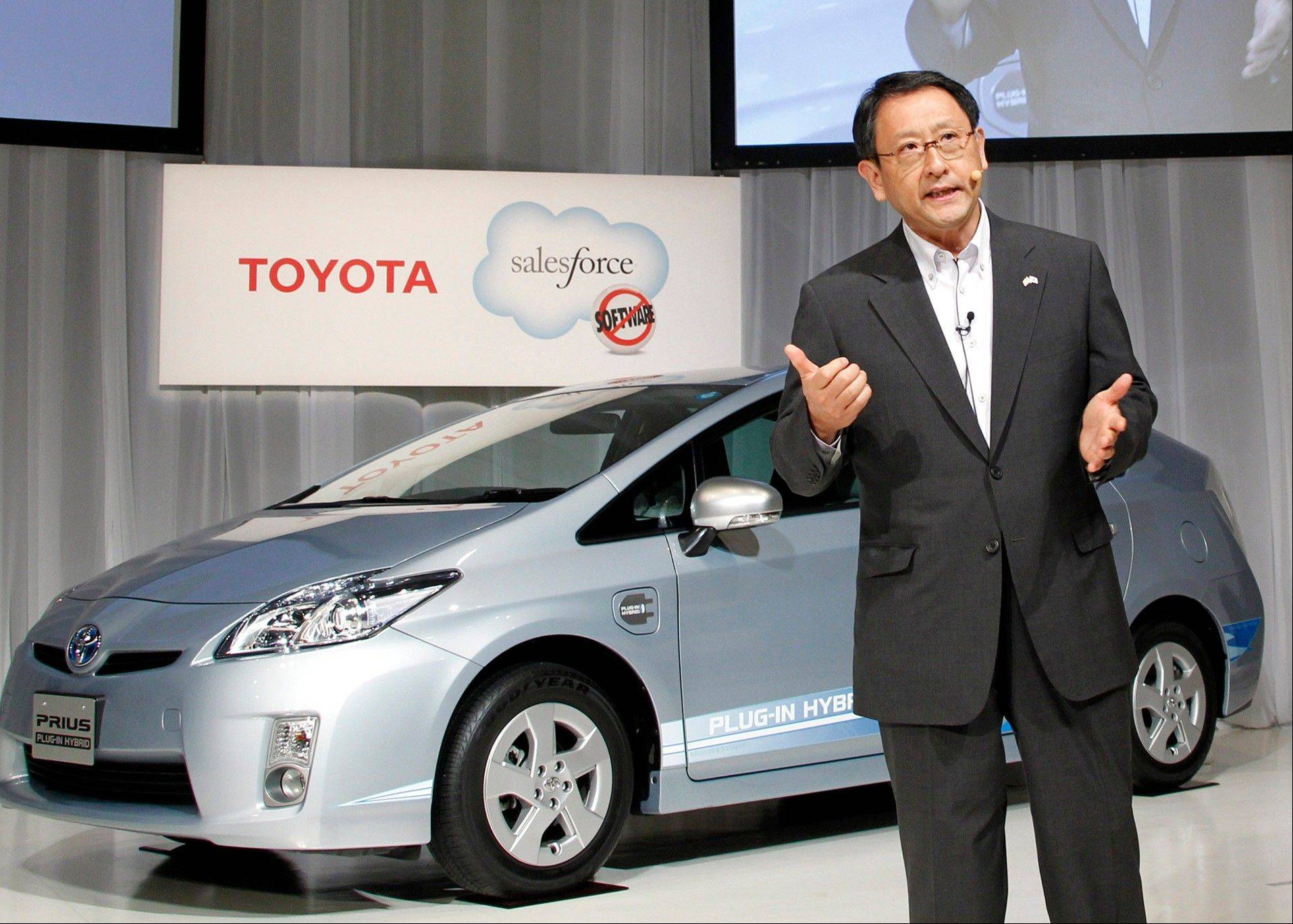 Toyota, beset in the last couple years by technical problems and the March disaster in Japan, is aiming for a comeback next year. Above, Toyota Motor Corp. President Akio Toyoda talks up his product.