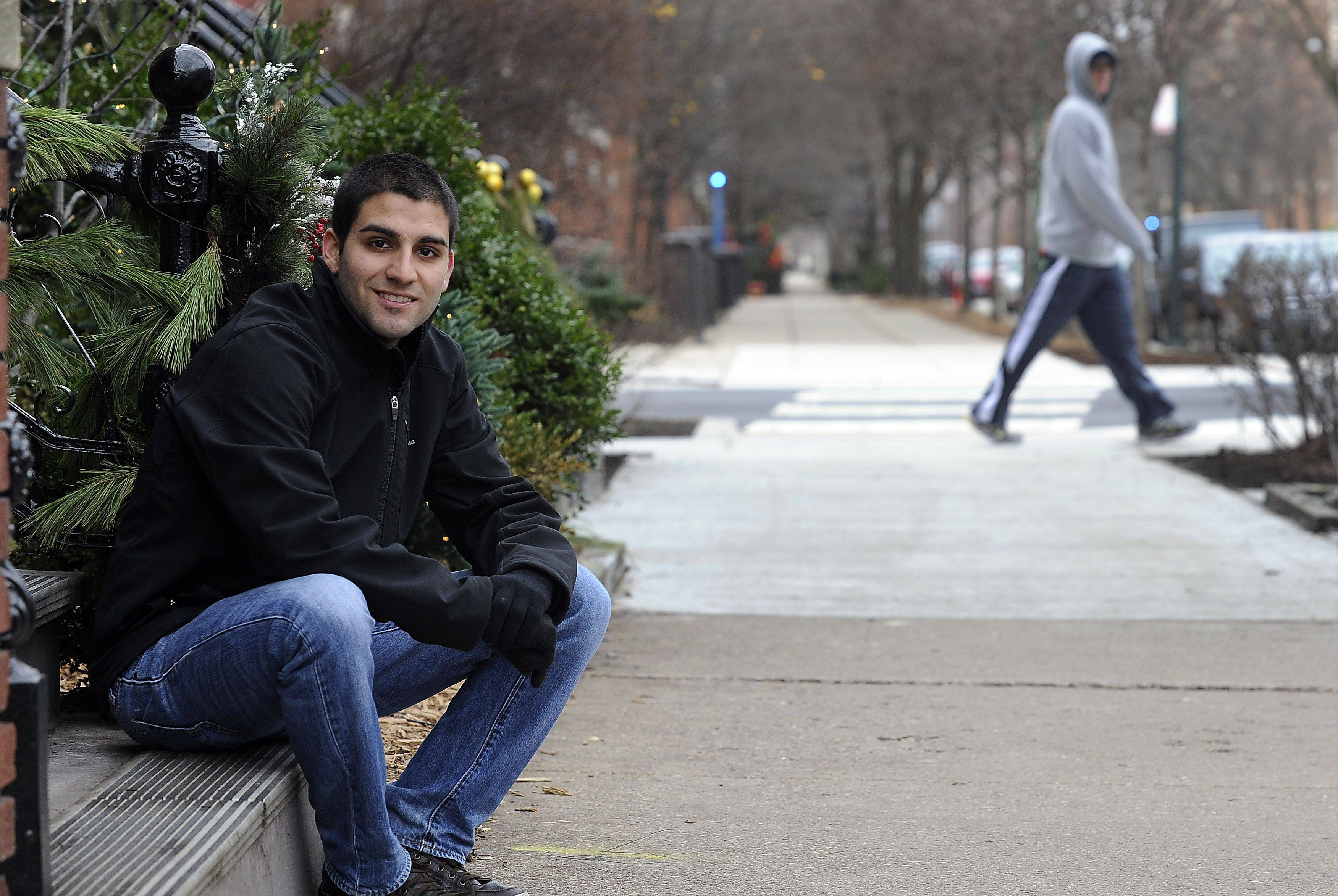 "Anthony Alfano, of Lake in the Hills, DePaul University's first openly gay student body president, sits at the University House on campus. Alfano, who began telling his closest friends several years ago that he was gay, officially ""came out"" to the world Oct. 10."