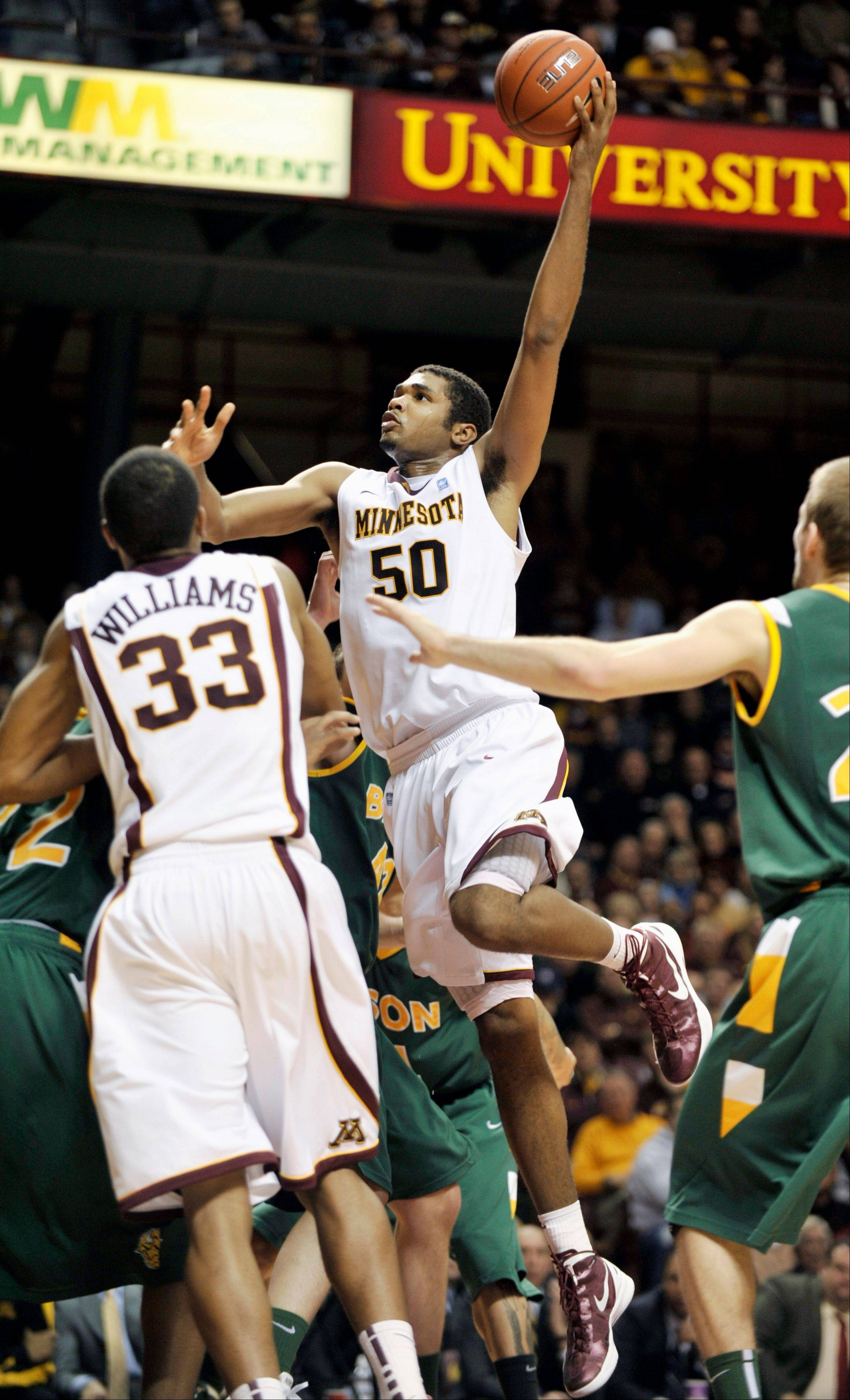 Minnesota�s Ralph Sampson III gets off a shot during the second half Thursday gainst North Dakota State.