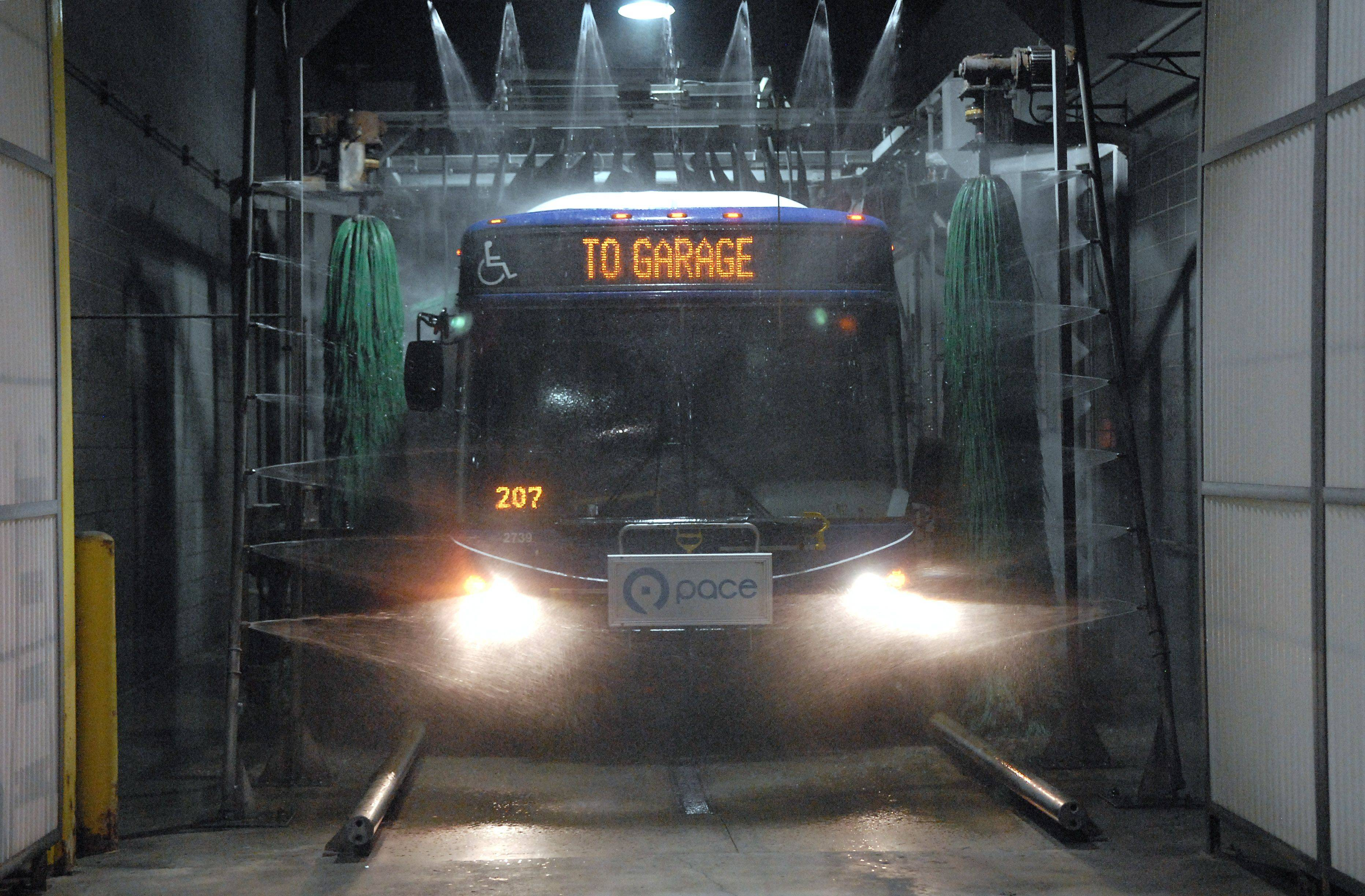 Inside the garage is a washing station built just for the buses. After completing a daily run of routes, buses are brought to the garage, refueled, washed, then parked ready to go the next day. The wash is exceptionally fast.