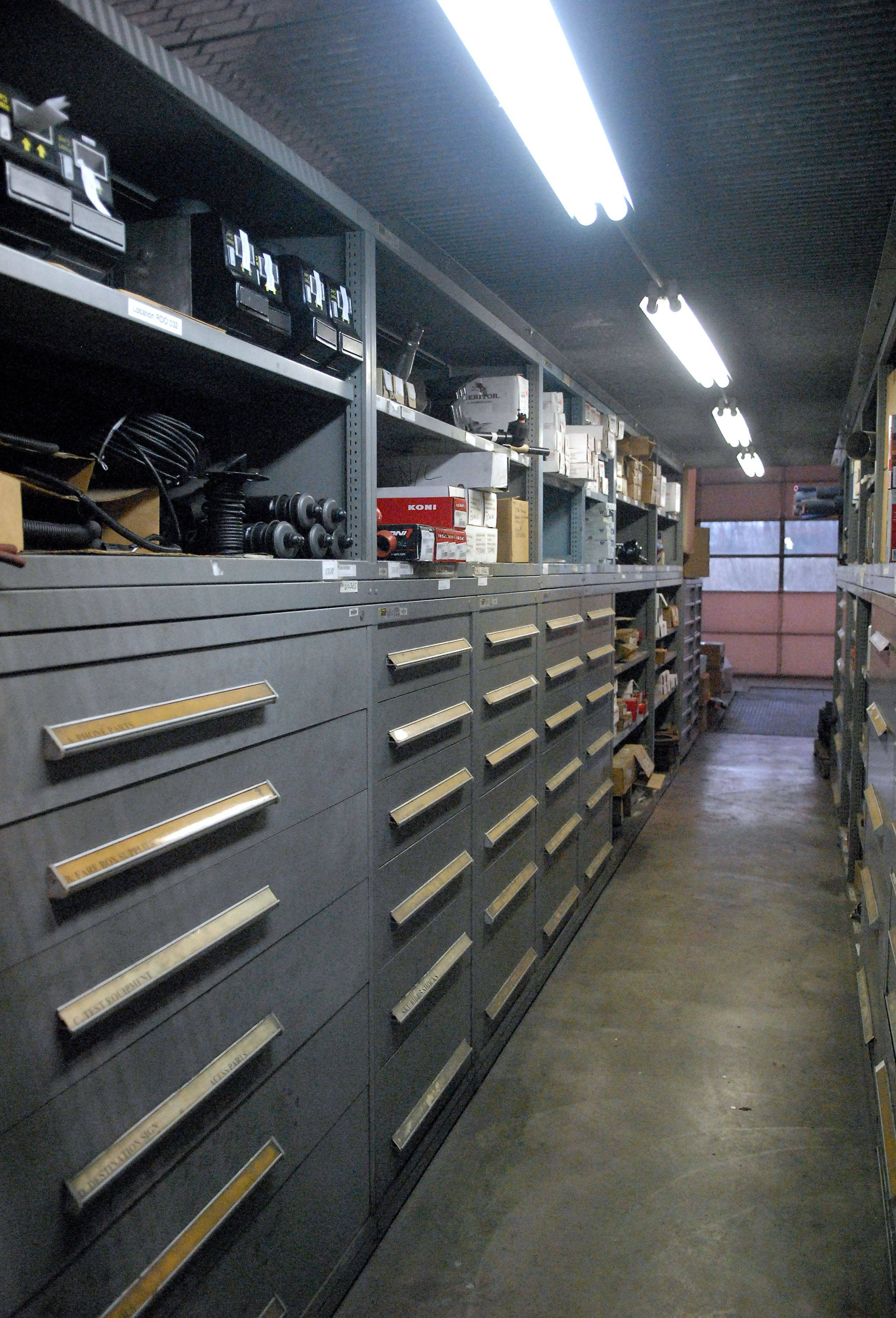 The stock room at the Elgin Pace bus garage is neatly organized. Each piece has a Pace assigned SKU number so quantities are tracked and can be easily found on the shelf or reordered when needed.