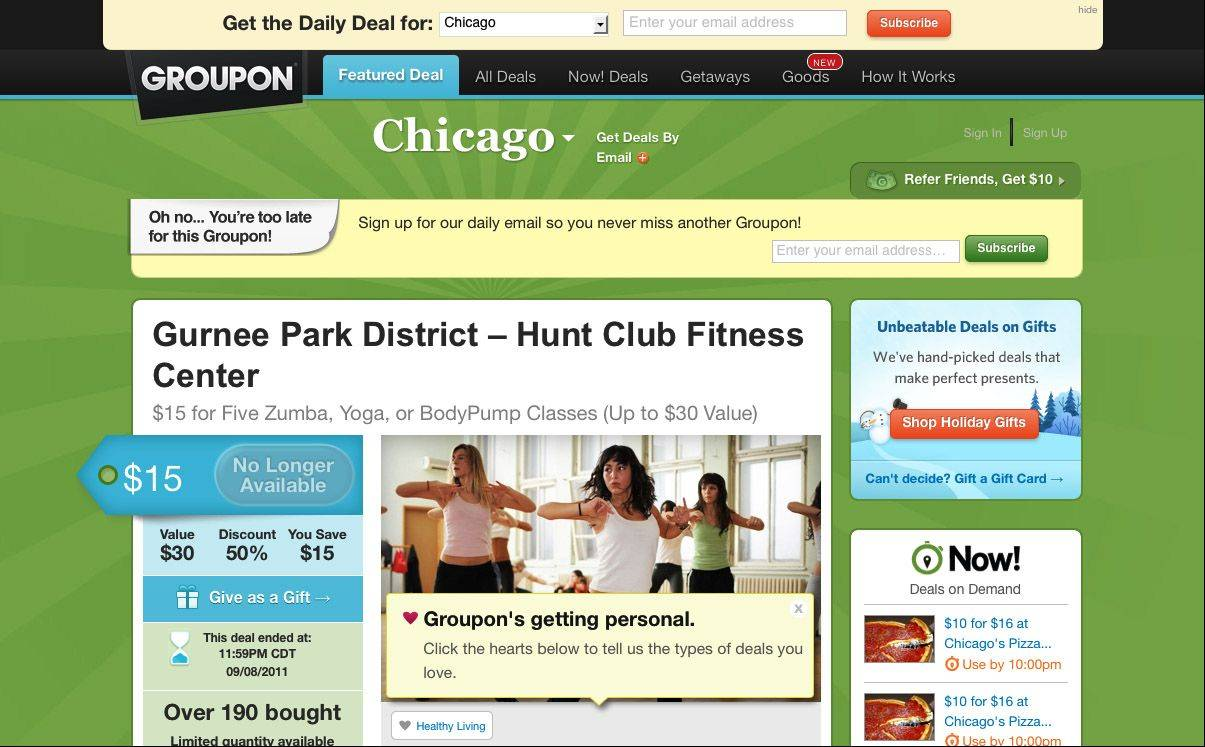 A screen grab from Groupon.com shows a previous offer for classes at the Gurnee Park District.