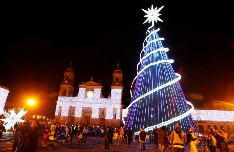 a christmas tree and lights decorate bolivar square in bogota colombia