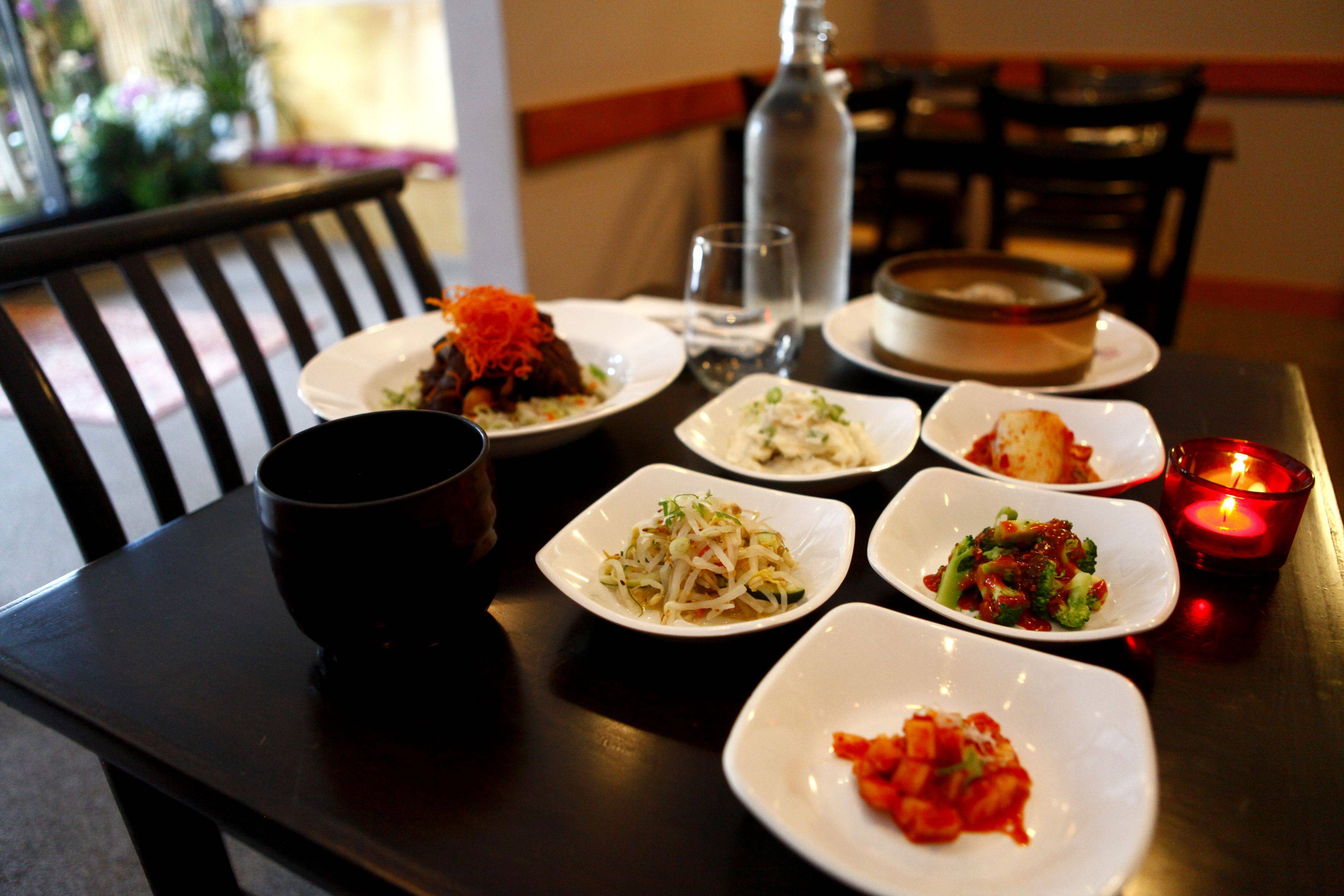 Meals at Ttowa in Arlington Heights come with a piquant potato salad and tantalizing pickled vegetables.