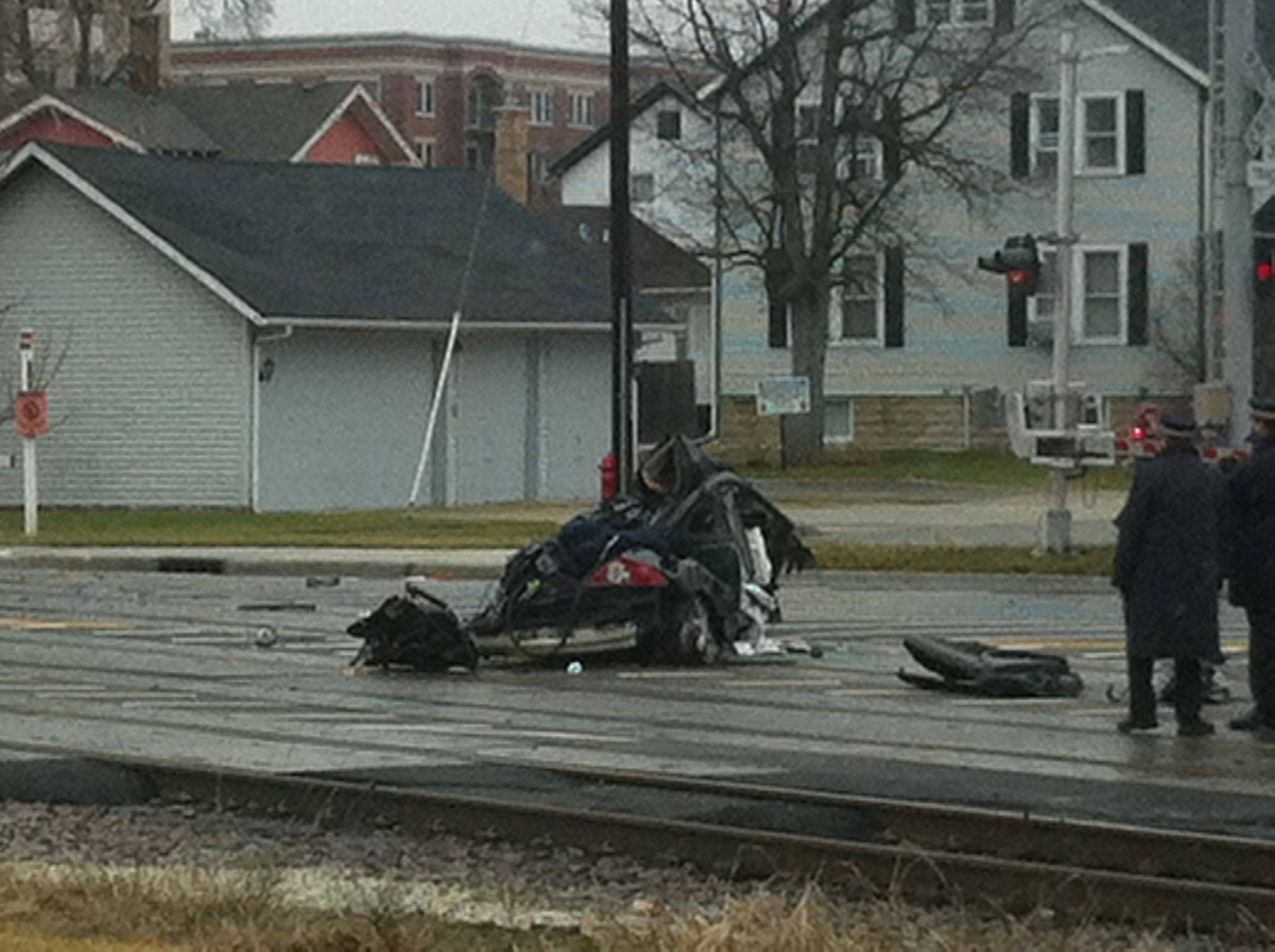 This is the vehicle that was hit by a train Tuesday morning in Palatine.