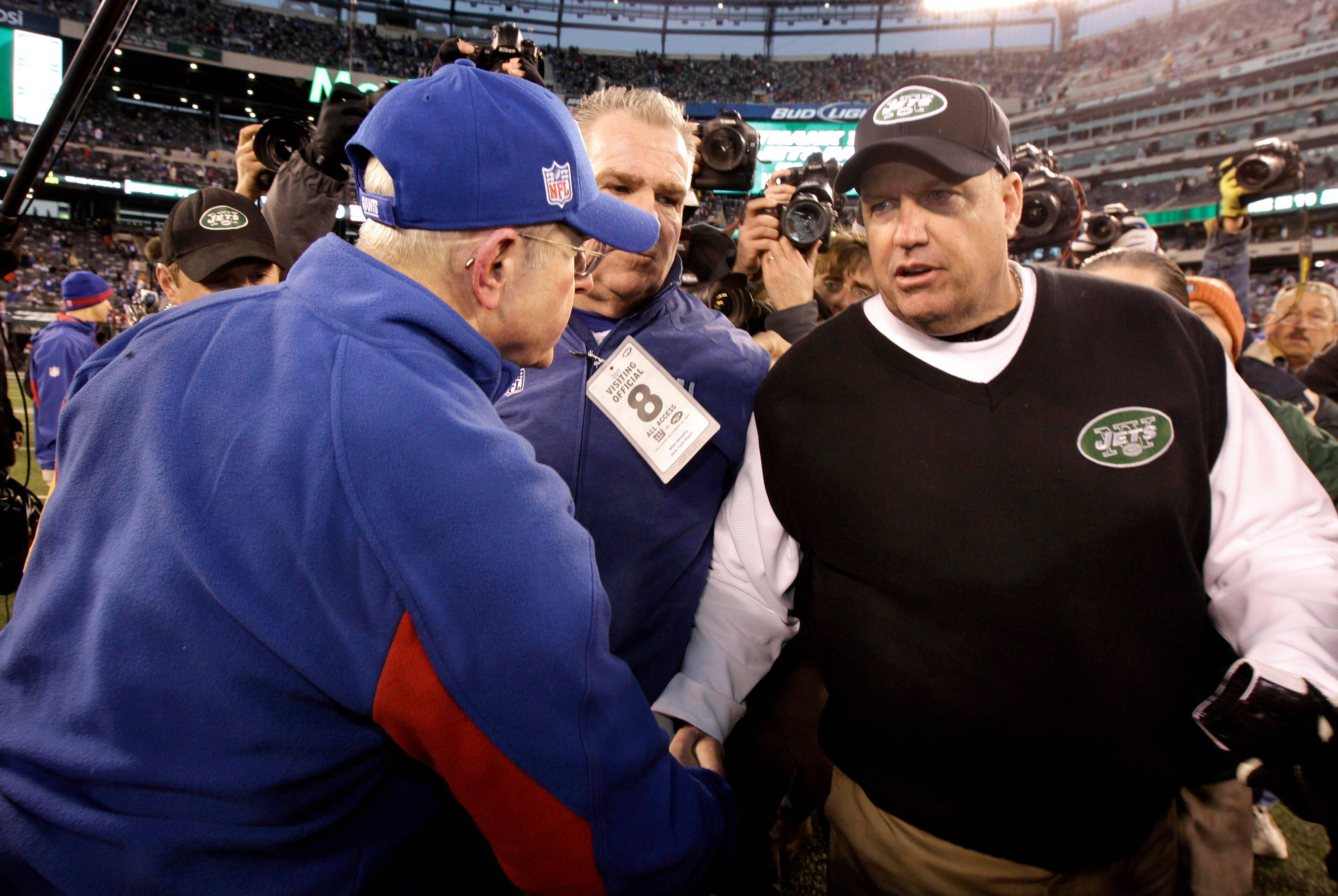 After losing to the Giants and Tom Coughlin, New York Jets head coach Rex Ryan, right, will need a miracle to get his team into the NFL playoffs.