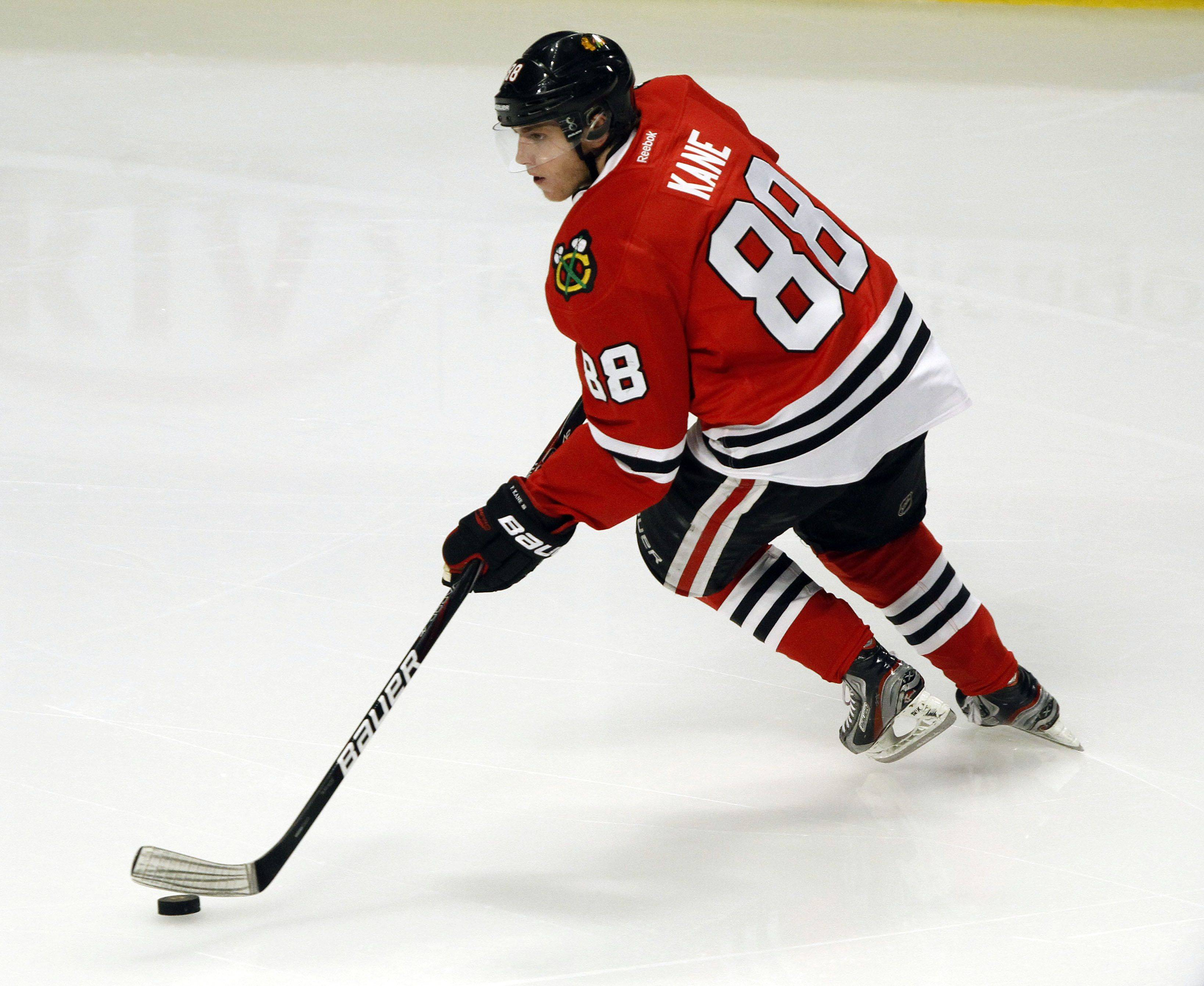 Chicago Blackhawks right wing Patrick Kane takes the puck up ice during their game against the Columbus Blue Jackets Monday night at the United Center in Chicago.