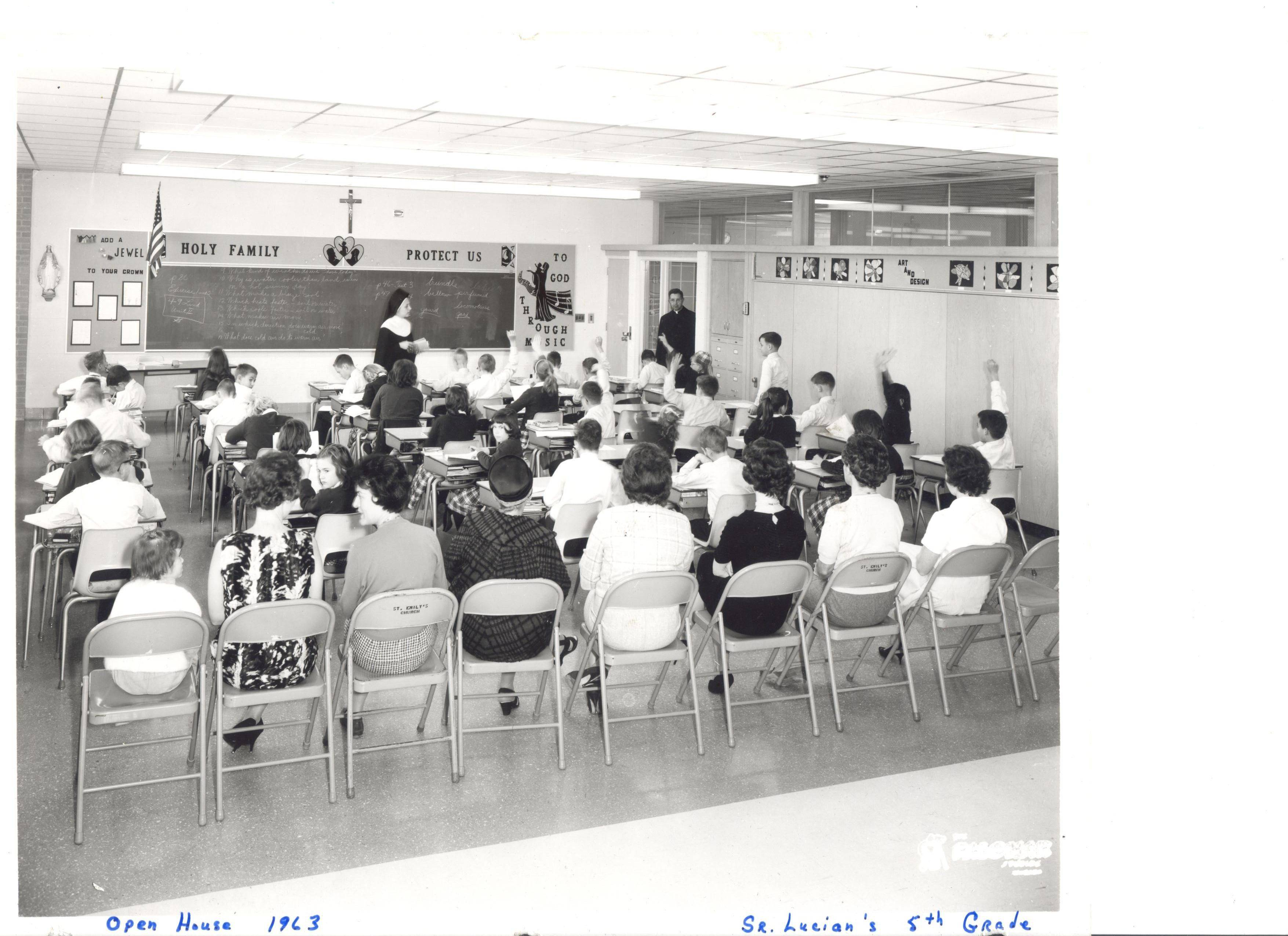 Sr. Lucian's fifth-grade classroom, 1963 open house at St. Emily School in Mount Prospect.