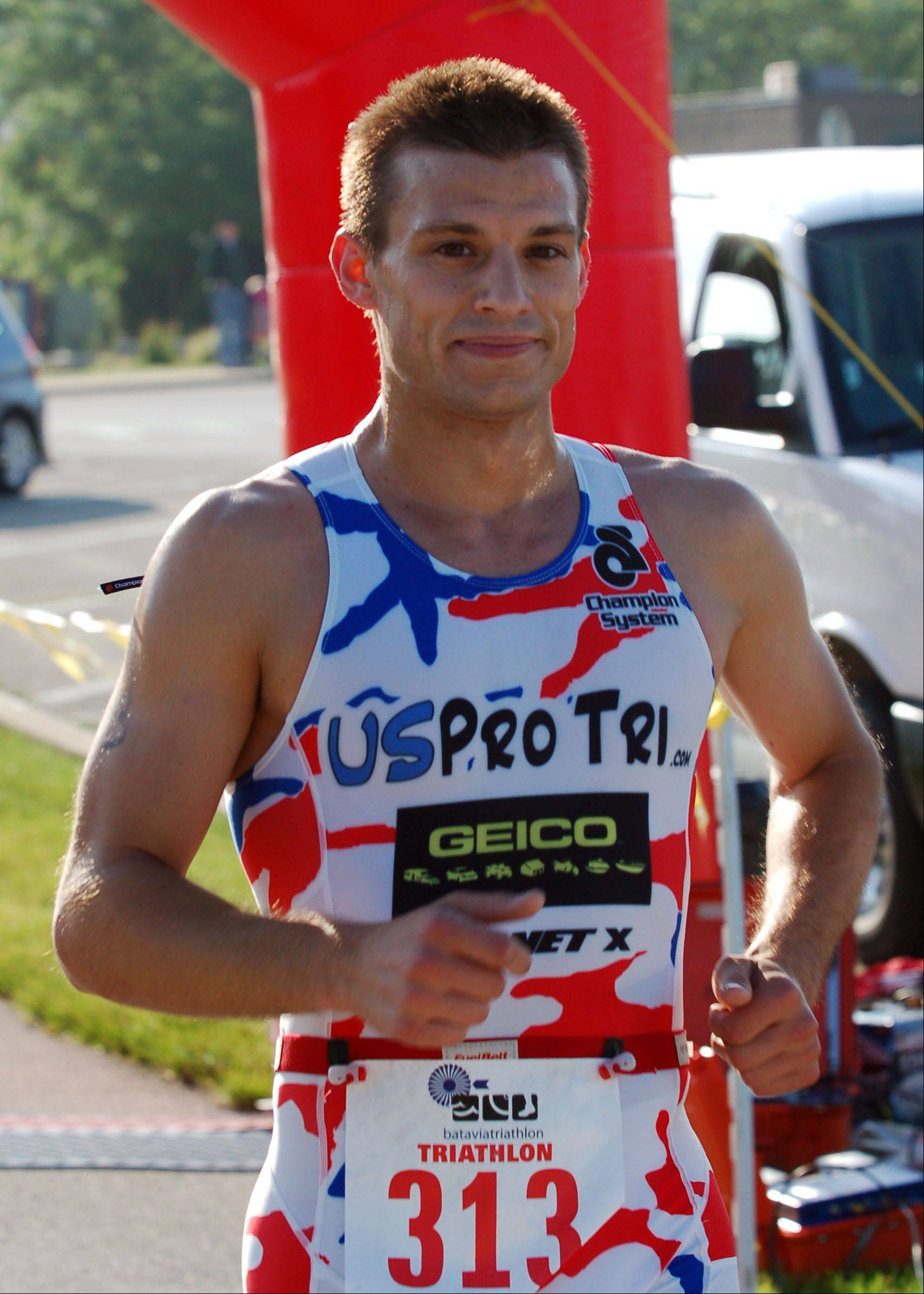 Ryan Giuliano of Schaumburg was first to cross the finish line at last year's Batavia Triathlon, with a time of 1:02.26.
