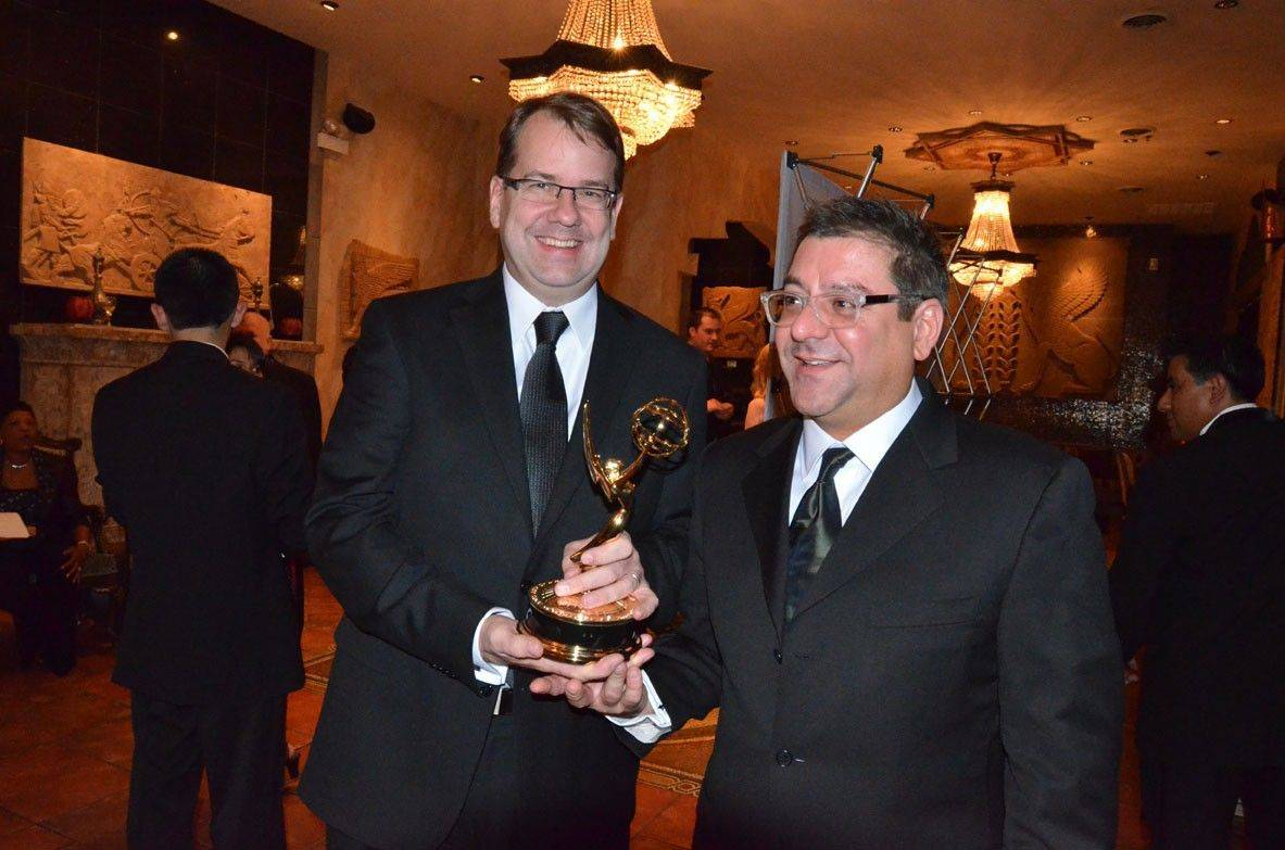 John Cuneo, right, and Derek Devine, owners of PUNCH Films, last month won a regional Emmy award for a public service announcement they filmed at the DuPage County morgue in Wheaton.
