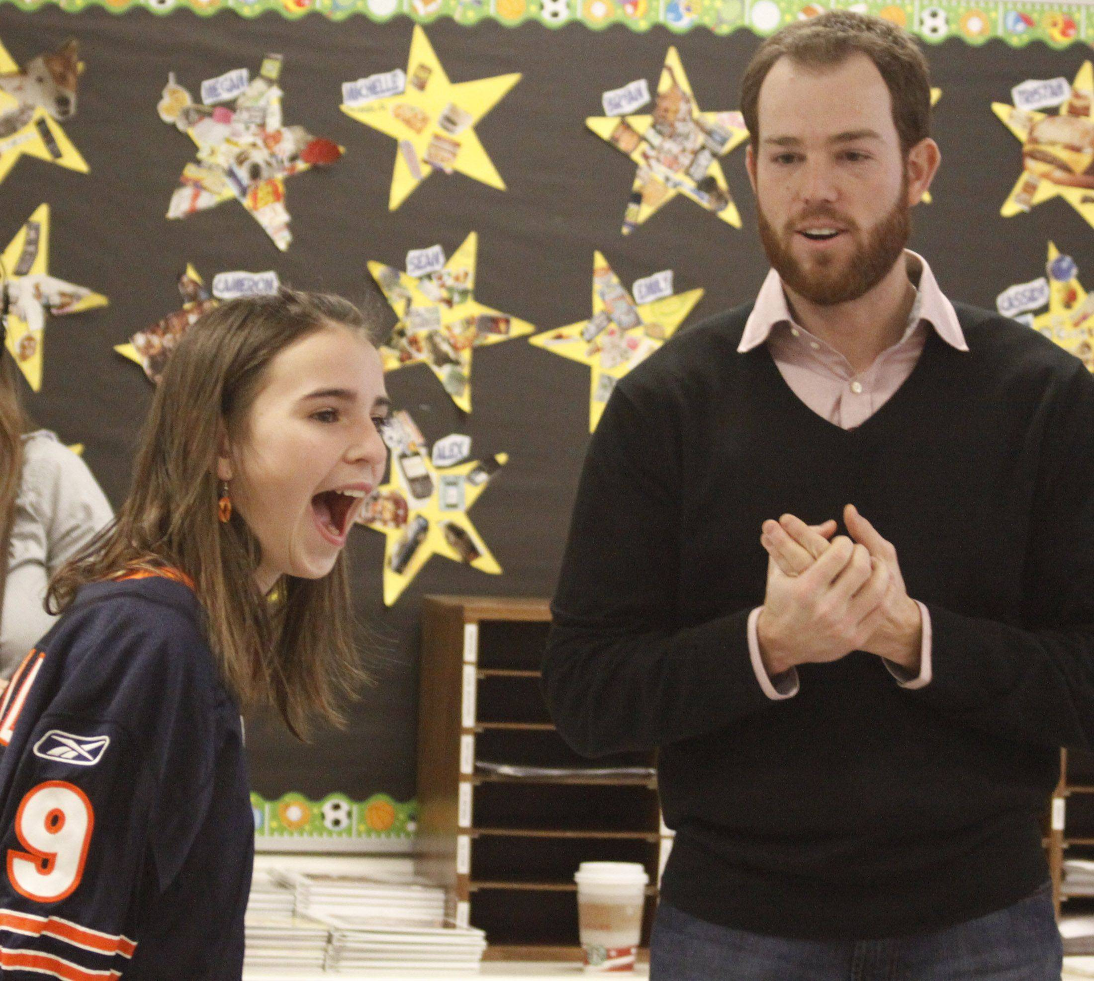 Wheaton fifth-grader Ava Childs won the NFL's Super Kid essay contest sponsored by Cartoon Network and got the chance to have Bears kicker Robbie Gould come to her school.