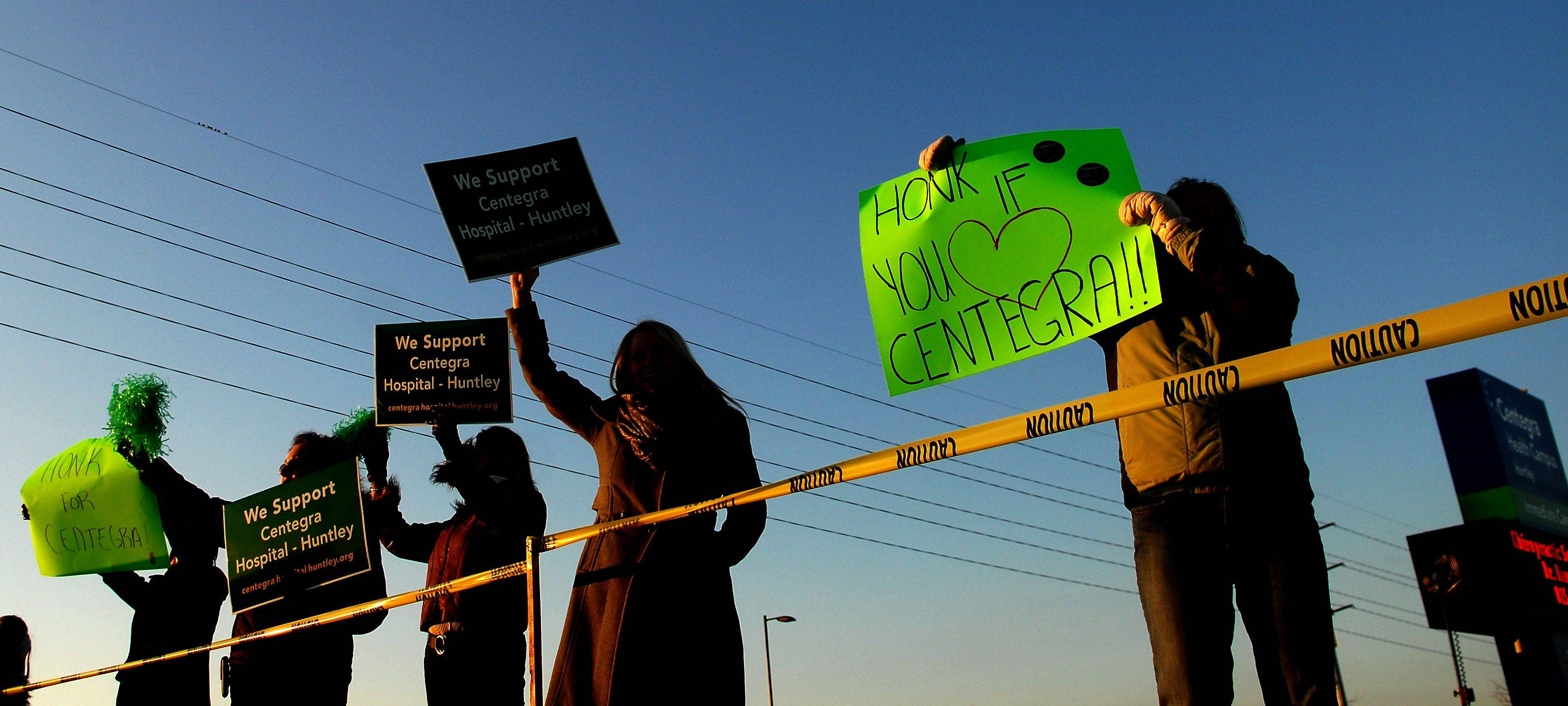 Supporters rally for a new Centegra hospital in Huntley earlier this year.