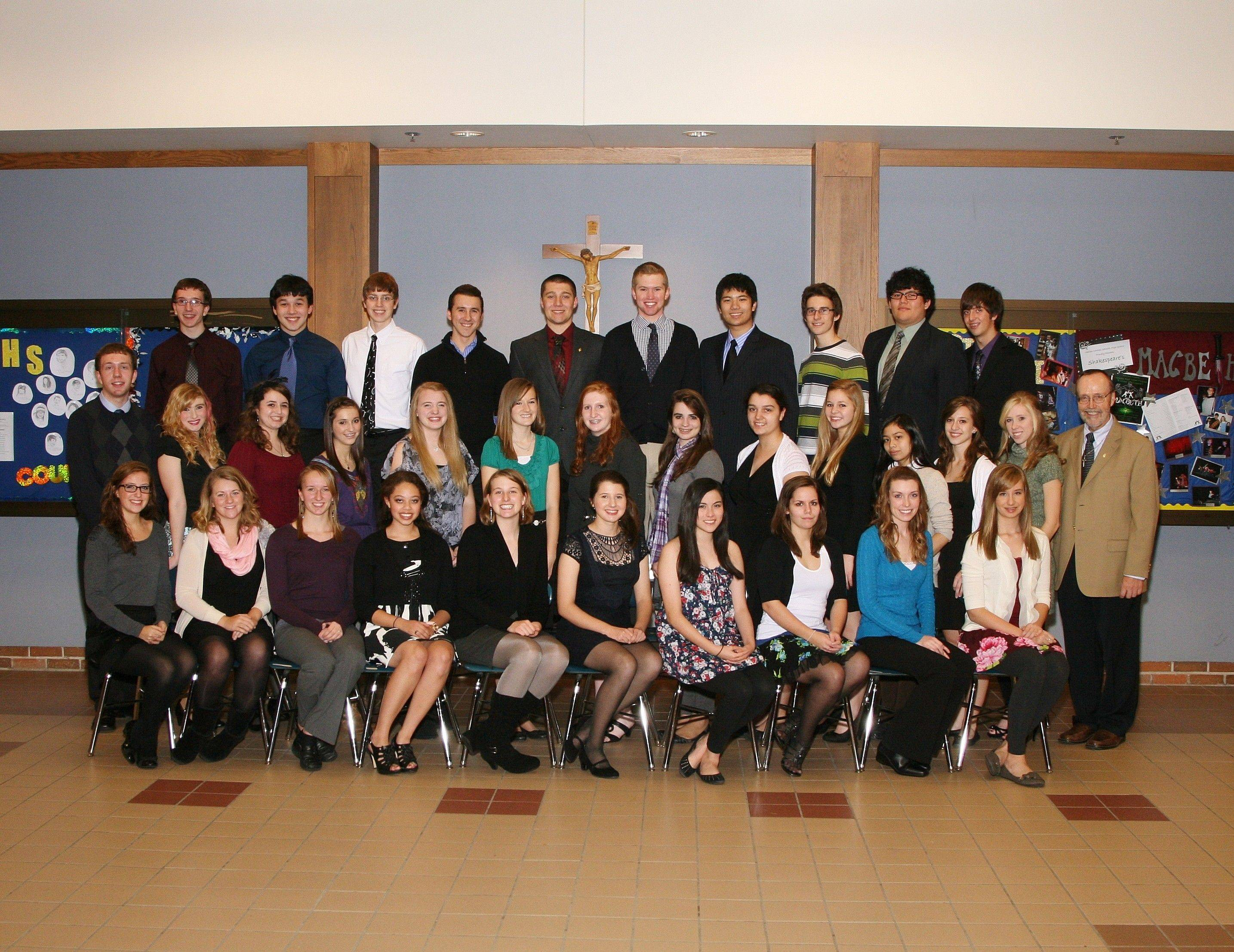 All 2011-12 Tri-M Honor Society members at Marian Central Catholic High School, are from left, front row, Katie Simmons, Claire Castetter, Katrina Hamilton-Smith, Grace John, Claire Gillespie, Rachel DiPirro, Lisbeth Hernandez, Cecilia Adams, Emily Conkling and Danielle Carlson; middle row, Michael Fitzpatrick, Heather Bilecki, Mary McCormack, Emily Frazier, Lauren Adams, Lisa DiGirolamo, Megan Graf, Anne-Marie Elsinger, Caroline Jummati, Bethany Bucci, Pam Atadero, Jessica Jenkner, Kailyn Teeter and music director Tom Rome; and back row, Anthony Fitzpatrick, Austin Lee, Robert Morehead, Tim Manion, Mike Gutshall, Jack Murray, Kyle Dionela, Patrick Manion, Yair Agosto and Brandon Wiener.