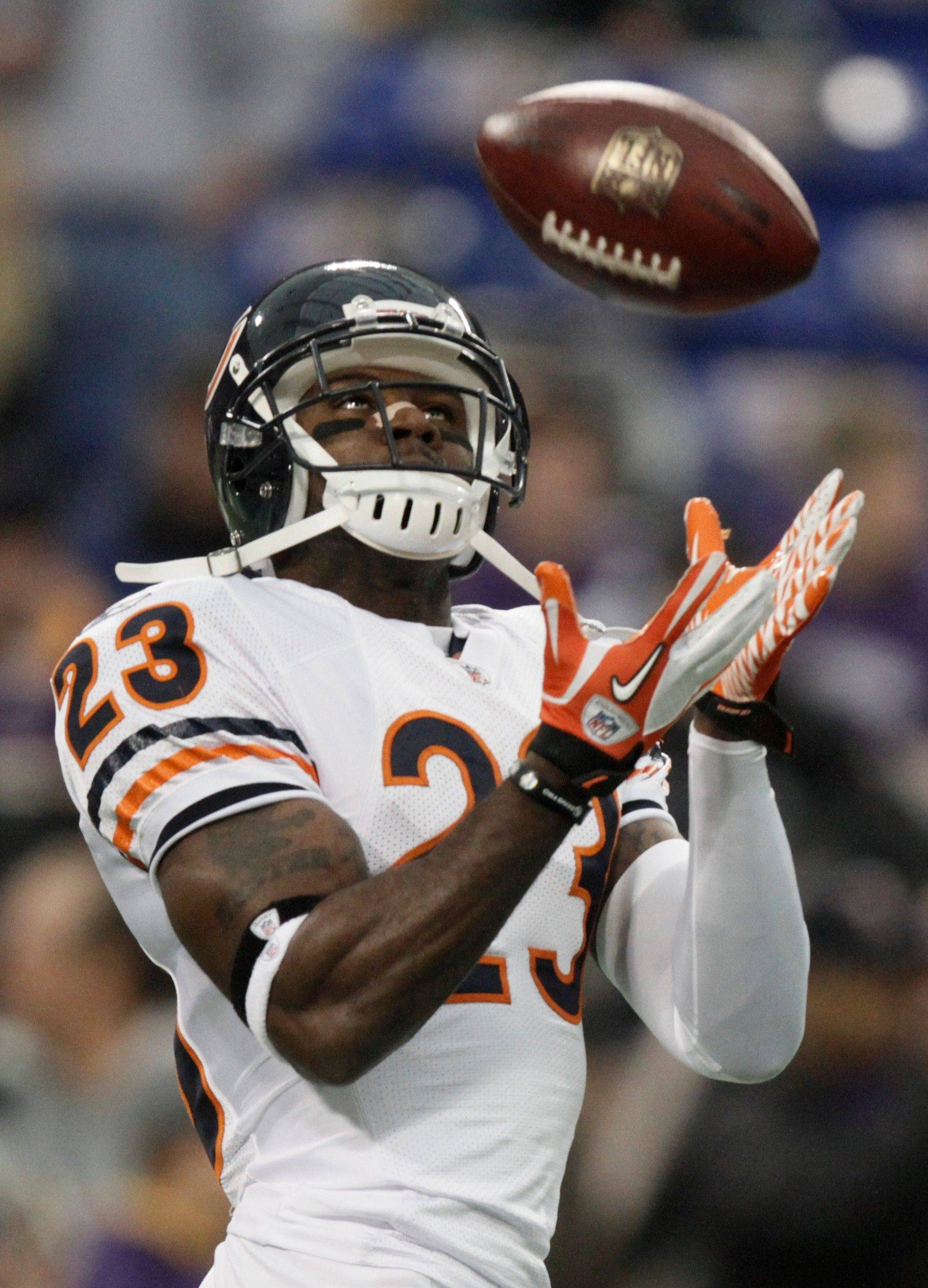 Chicago Bears wide receiver Devin Hester warms up before an NFL football game against the Minnesota Vikings.