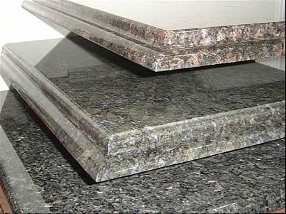 Granite edges are a matter of personal taste and can be straight, beveled or bull-nosed; there is an extra charge for an ogee edge, shown here.