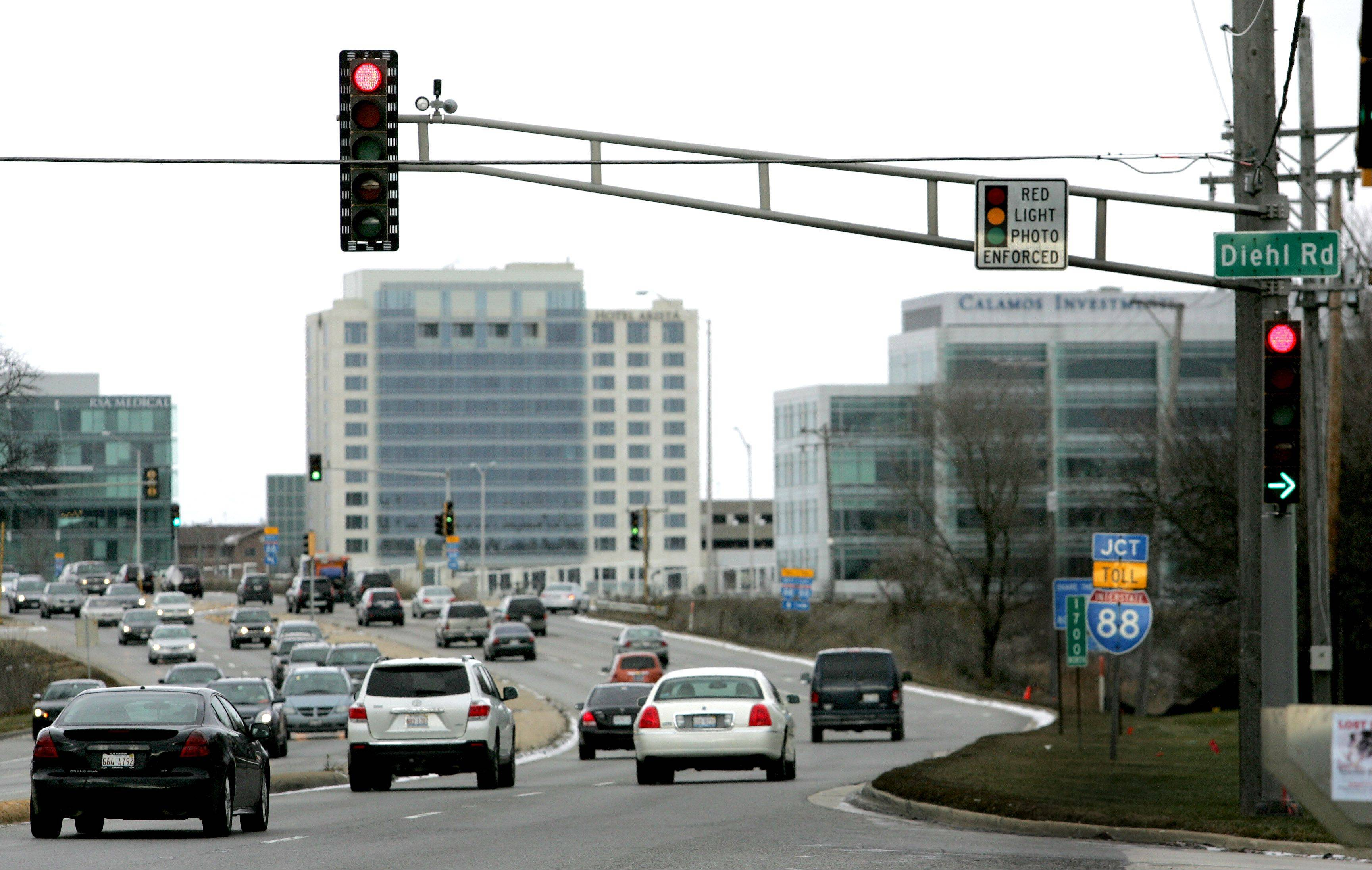 Naperville will be turning off its red-light cameras on Tuesday, including this one at Route 59 and Diehl Road.