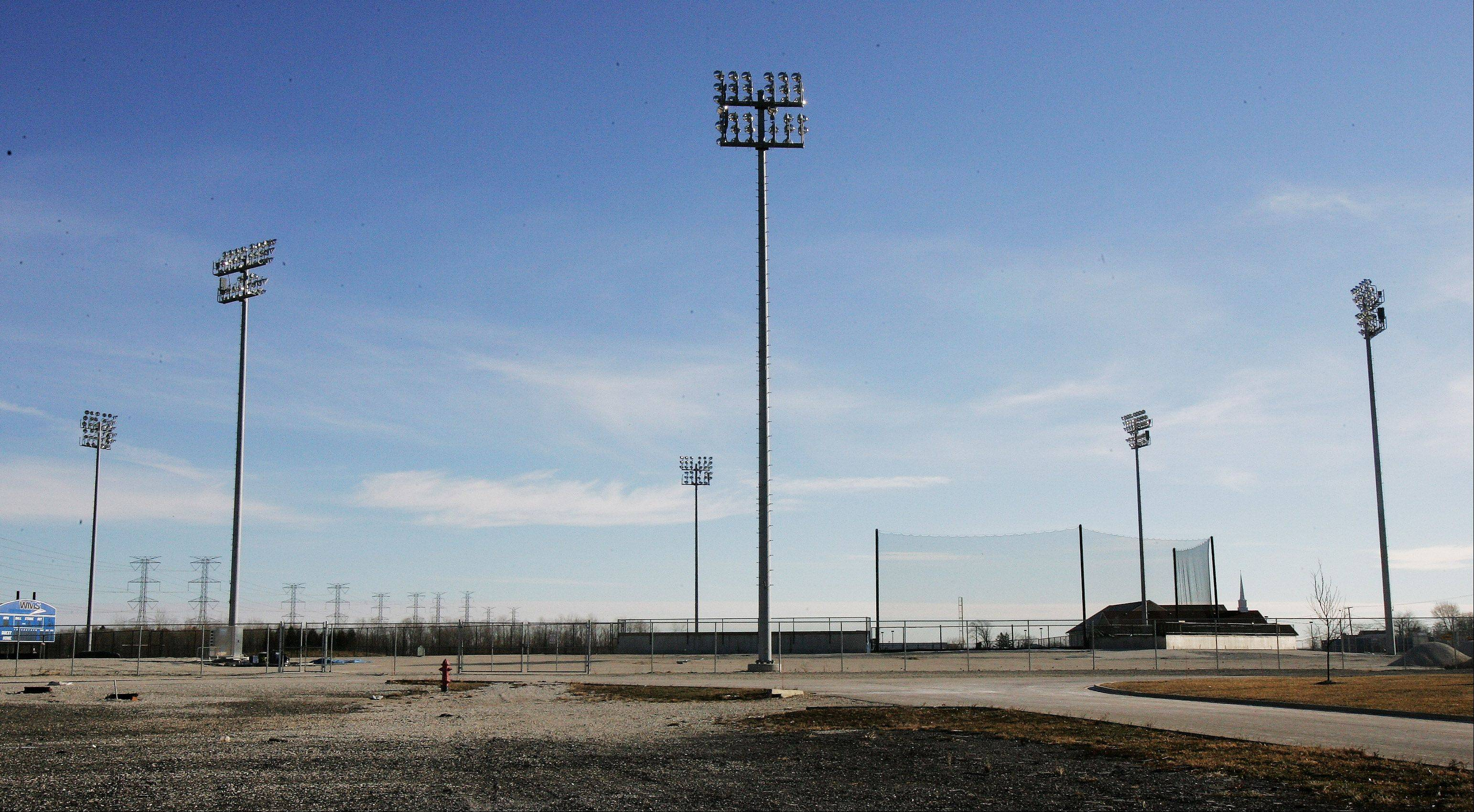 Although a temporary stadium for the Lake County Fielders independent baseball team in Zion was gone, lights and a backstop remained at the site Tuesday. The work cost state taxpayers $1.3 million.