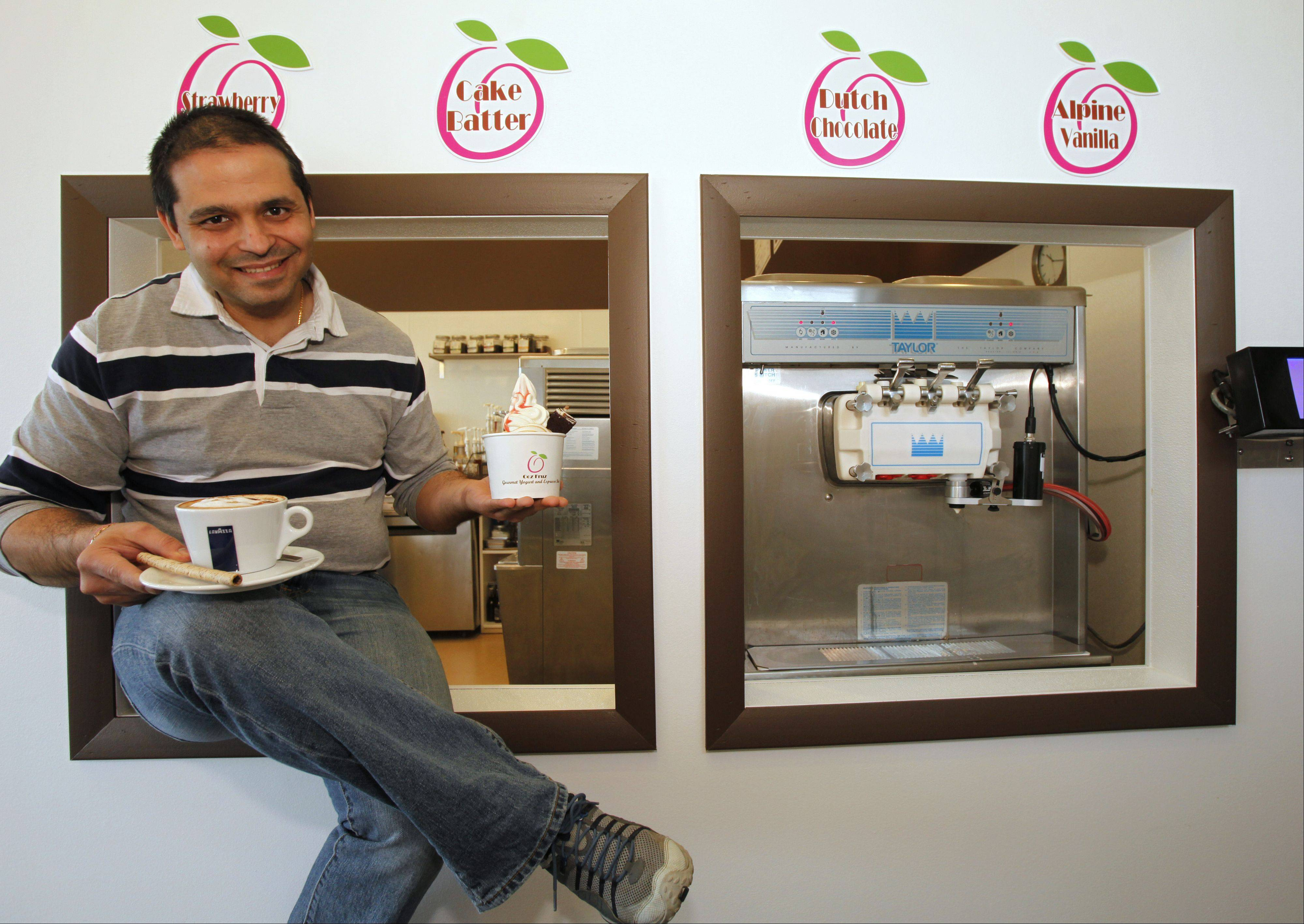 Sachin Sehgal, owner of the new Ooz Fruz shop on Galligan Road in Gilberts, says his two biggest draws are his gourmet coffee and specialty frozen yogurt.