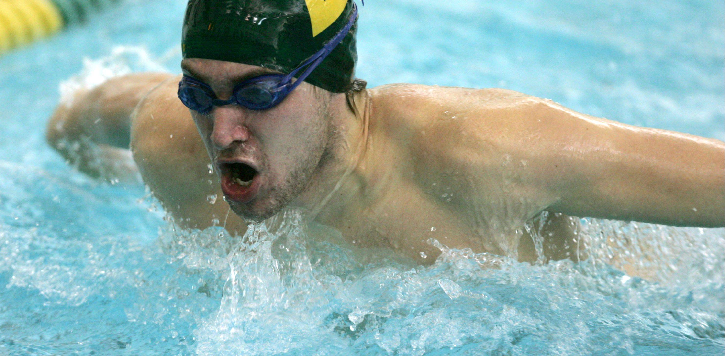 Waubonsie Valley's Joe Poletto swims the butterfly during the Waubonsie Valley High School Pentathlon boys swimming meet.